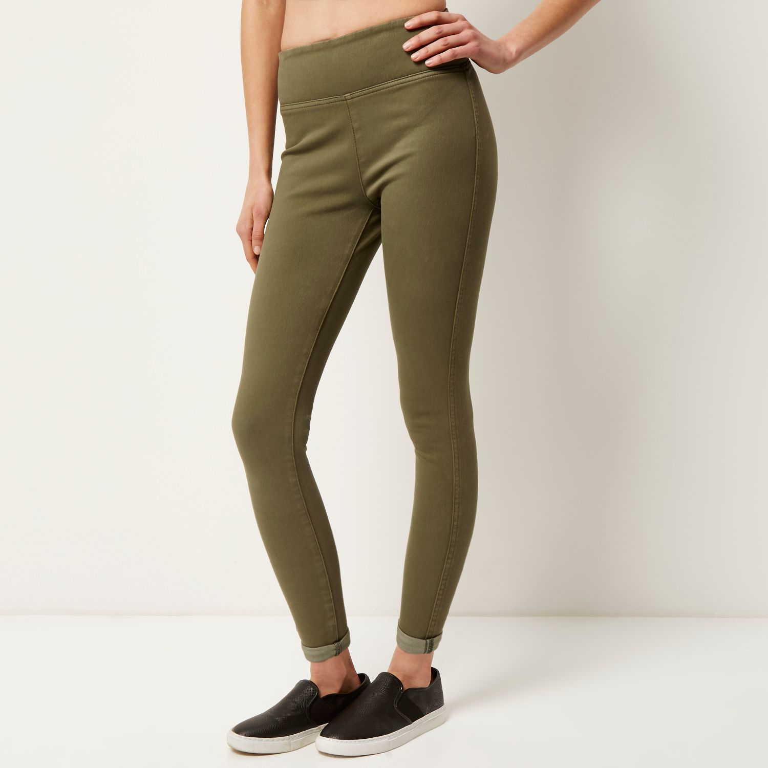 Khaki High Waisted Leggings