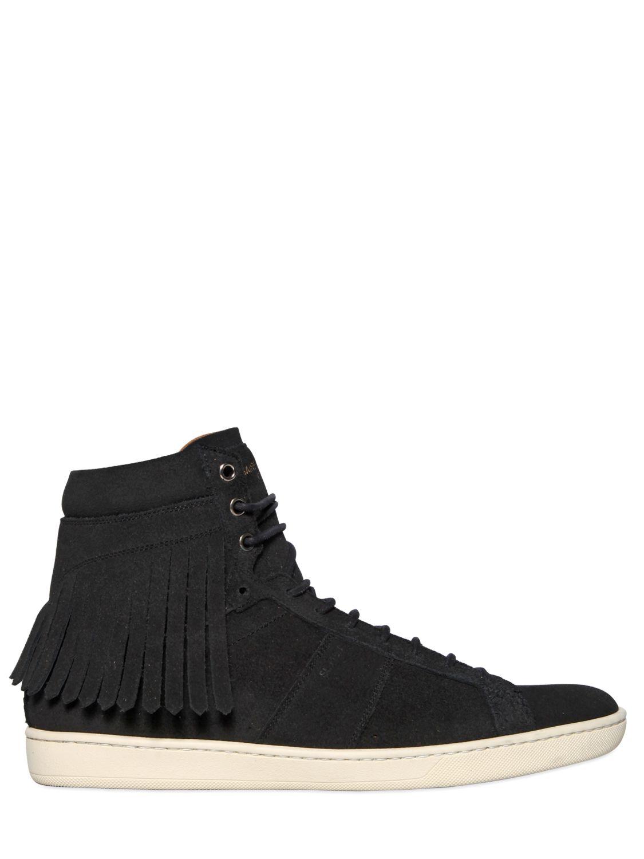 saint laurent fringed suede high top sneakers in black for men lyst. Black Bedroom Furniture Sets. Home Design Ideas