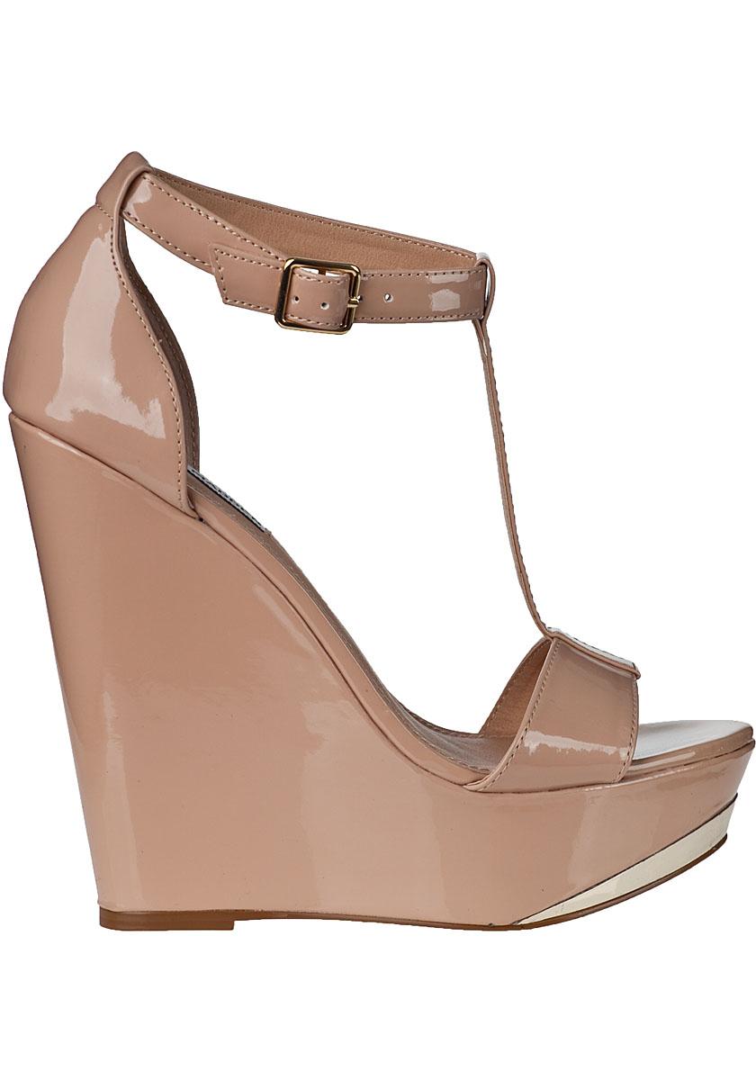 6dd45b0e579 Steve Madden Natural Xtrime Wedge Sandal Fawn Patent