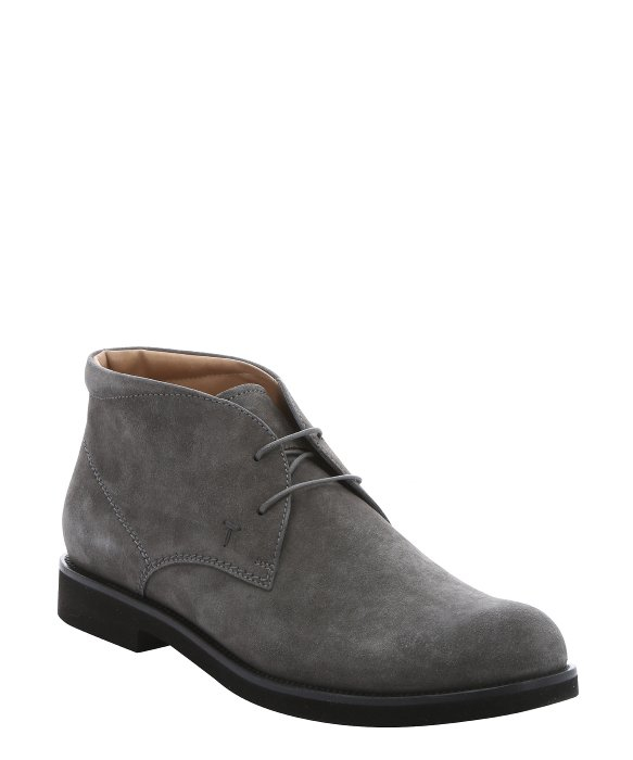 tod s grey suede lace up chukka boots in gray for lyst