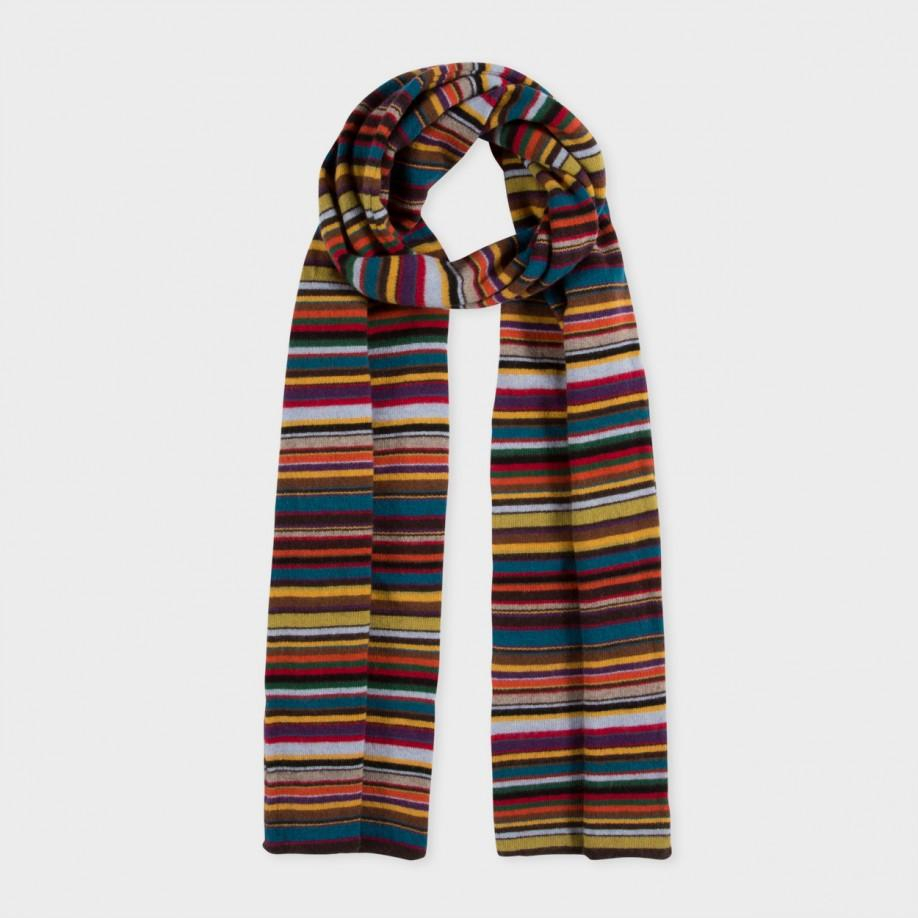 paul smith brown signature stripe wool blend scarf in