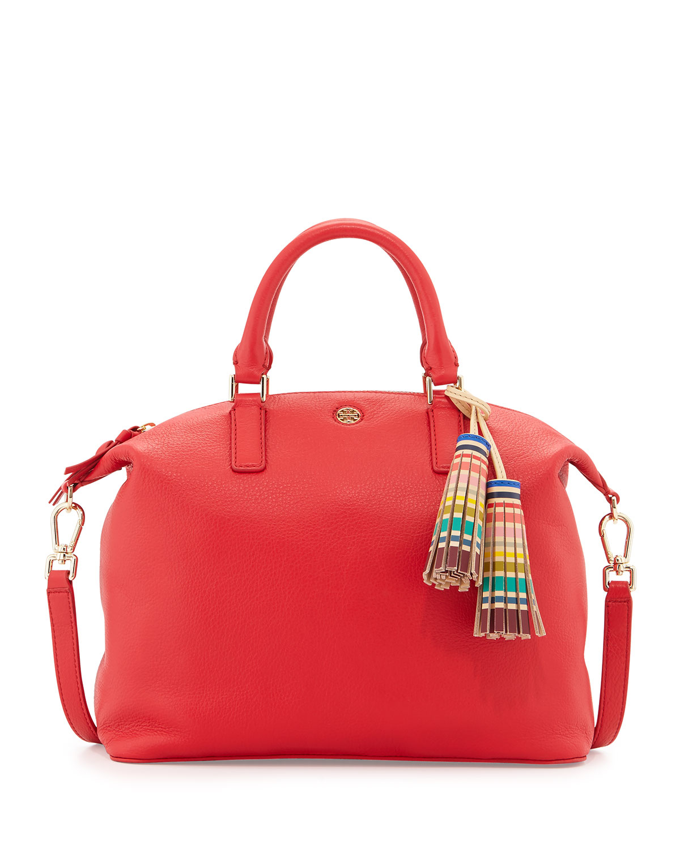 793b93cfc9c Lyst - Tory Burch Small Slouchy Satchel Bag W tassel in Red
