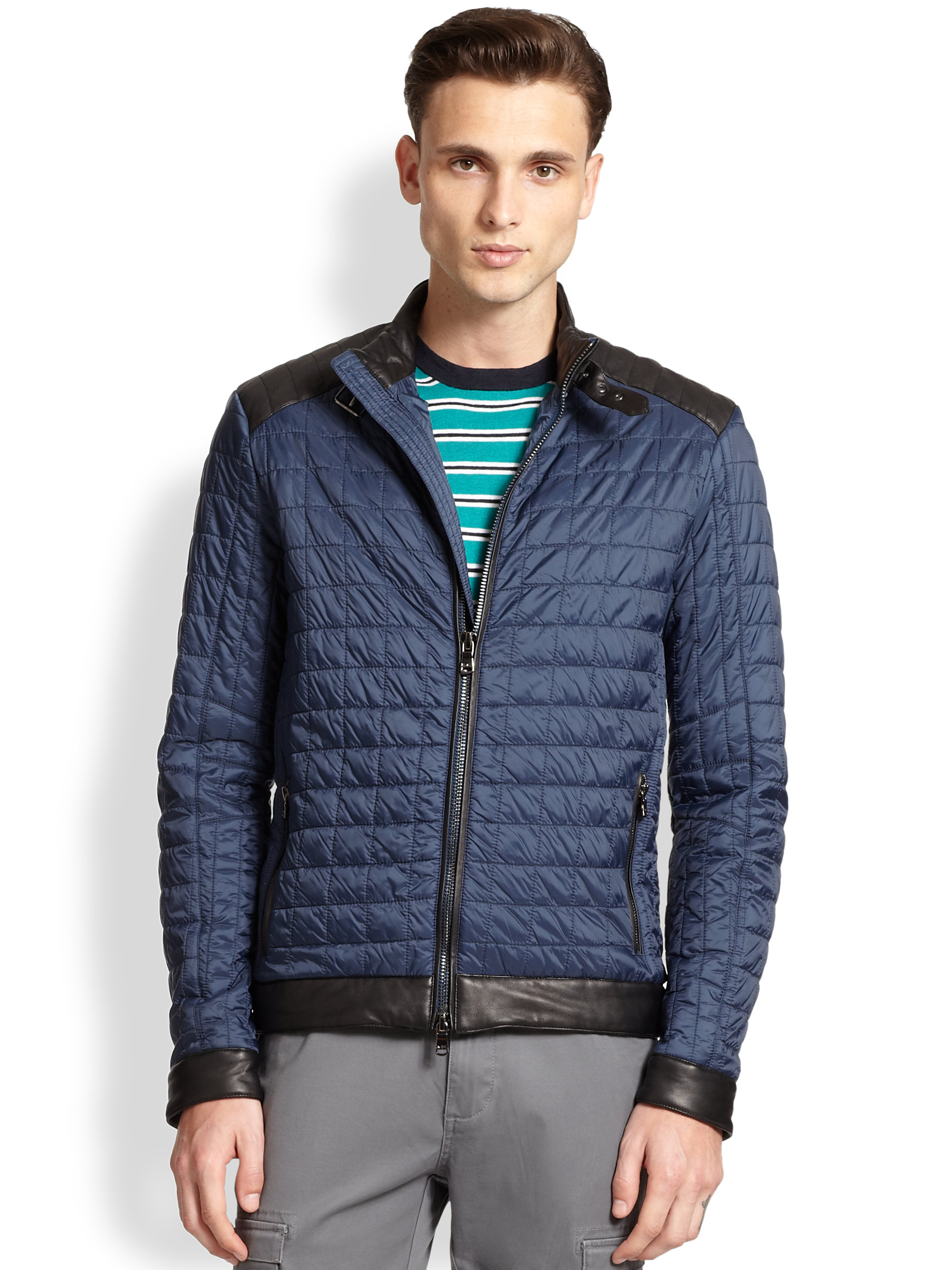 Michael Kors Quilted Jacket In Blue For Men Midnight Lyst