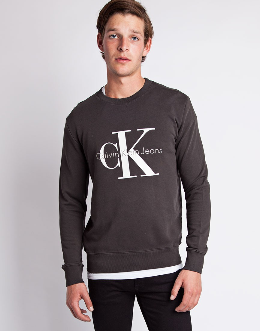calvin klein jeans classic sweatshirt charcoal in gray for. Black Bedroom Furniture Sets. Home Design Ideas