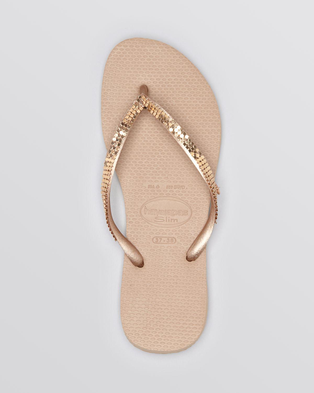 d5b42b20f606c4 Lyst - Havaianas Flip Flops Slim Metal in Pink