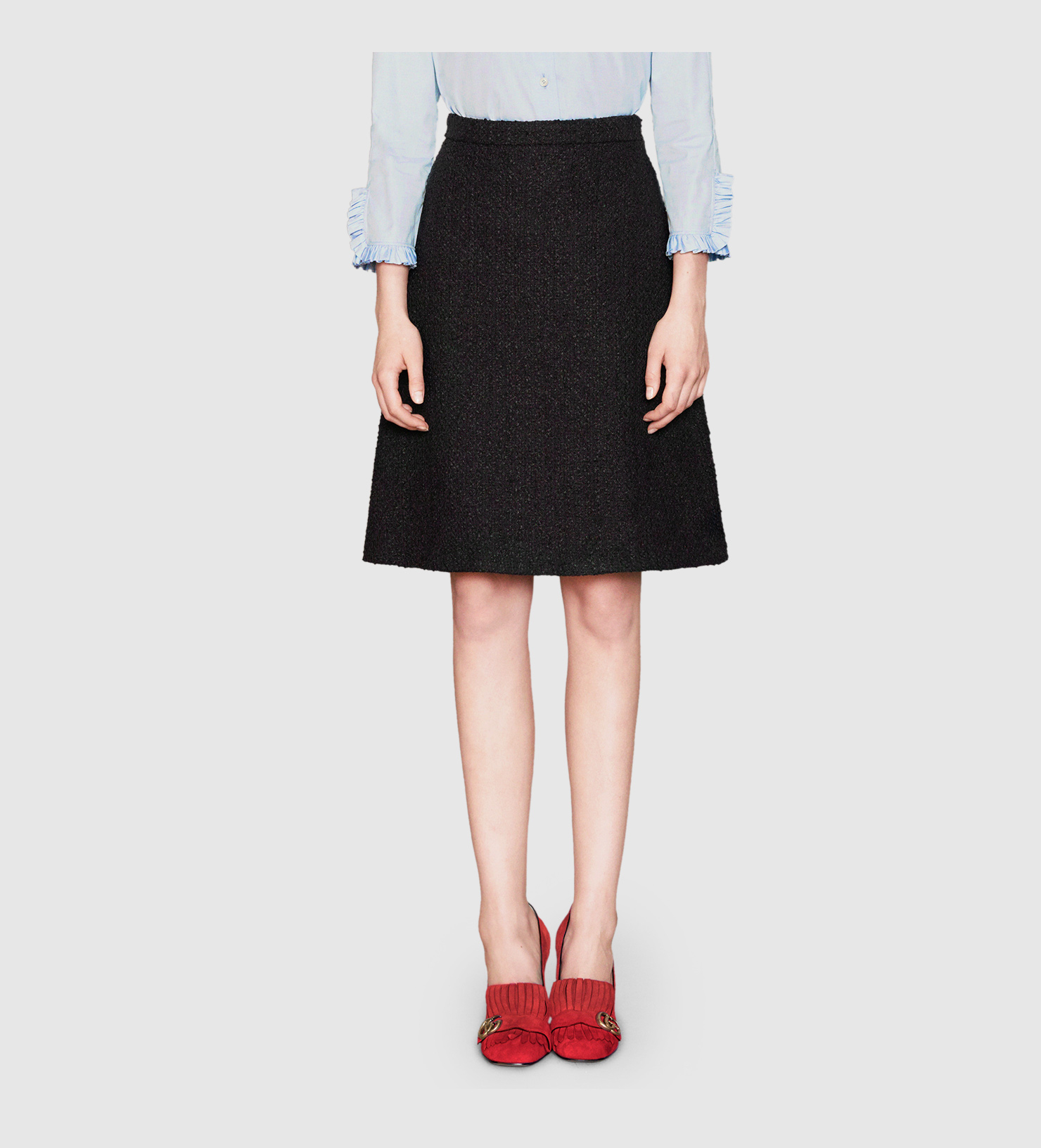 gucci tweed a line skirt in black lyst