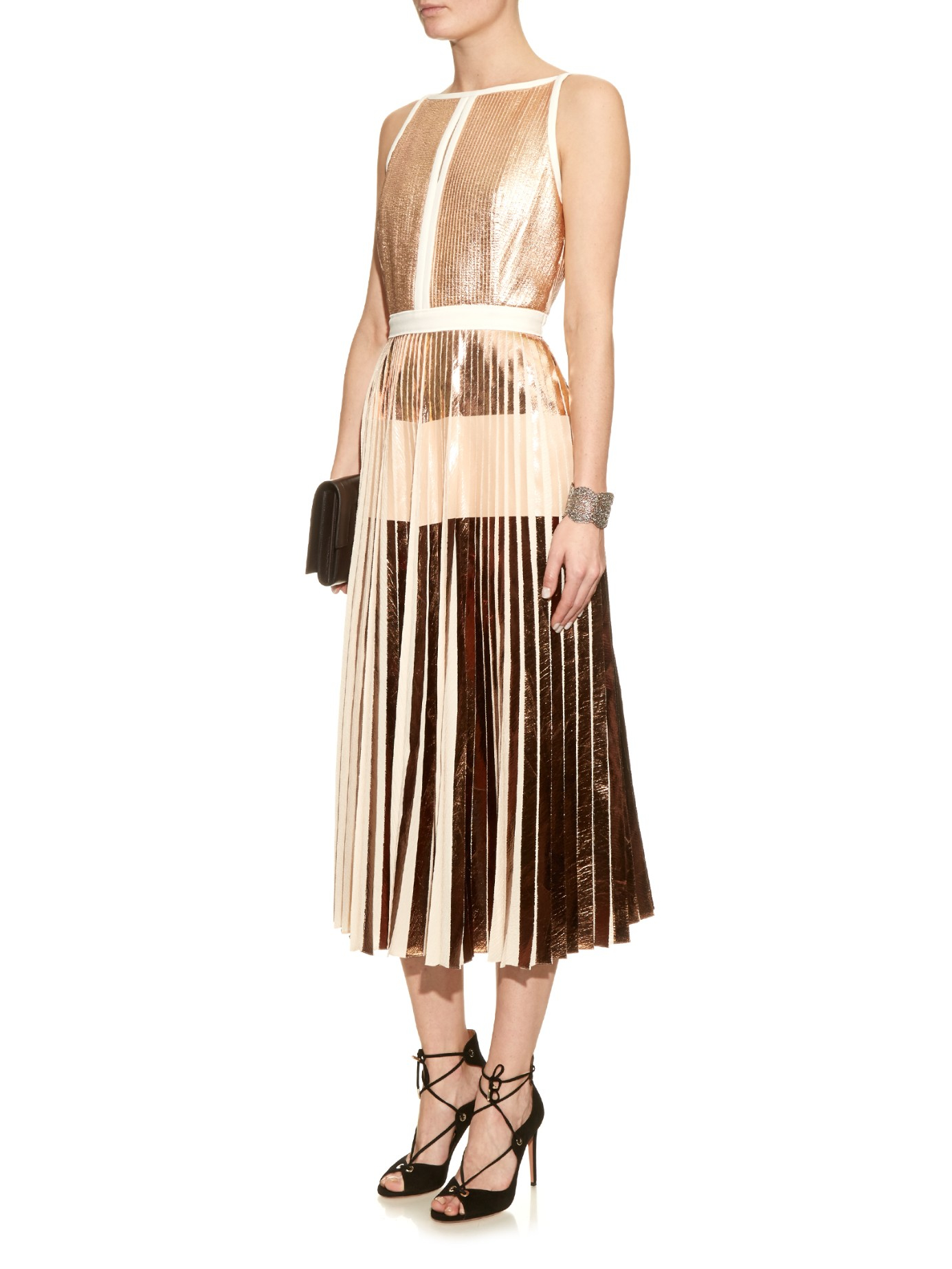 Discount Cheap Prices Cutout Pleated Lamé Midi Dress Proenza Schouler For Cheap Price 5dhV7nD
