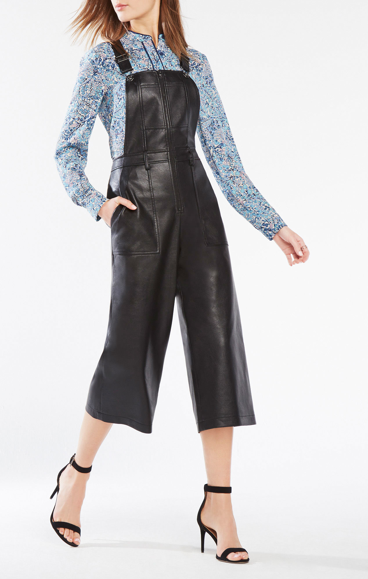 Lyst Bcbgmaxazria Jamee Faux Leather Overalls In Black