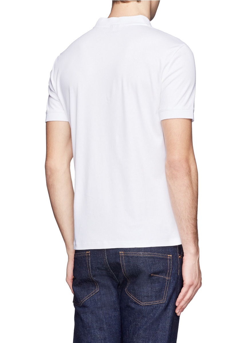 Lyst armani slim fit polo shirt in white for men for White fitted polo shirts