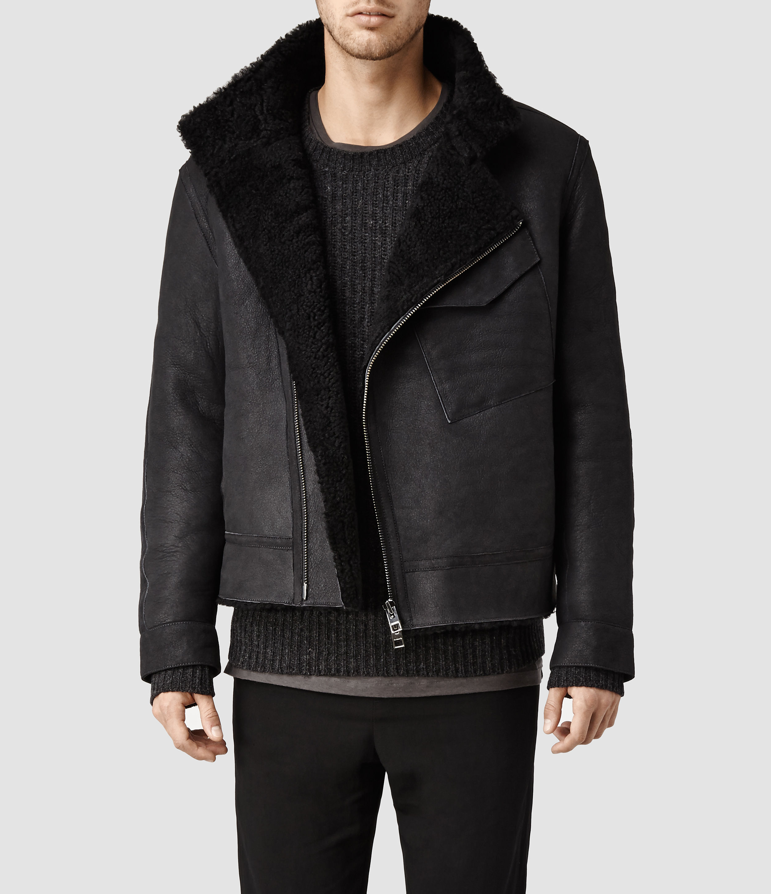 Allsaints Drayford Shearling Leather Jacket In Gray For
