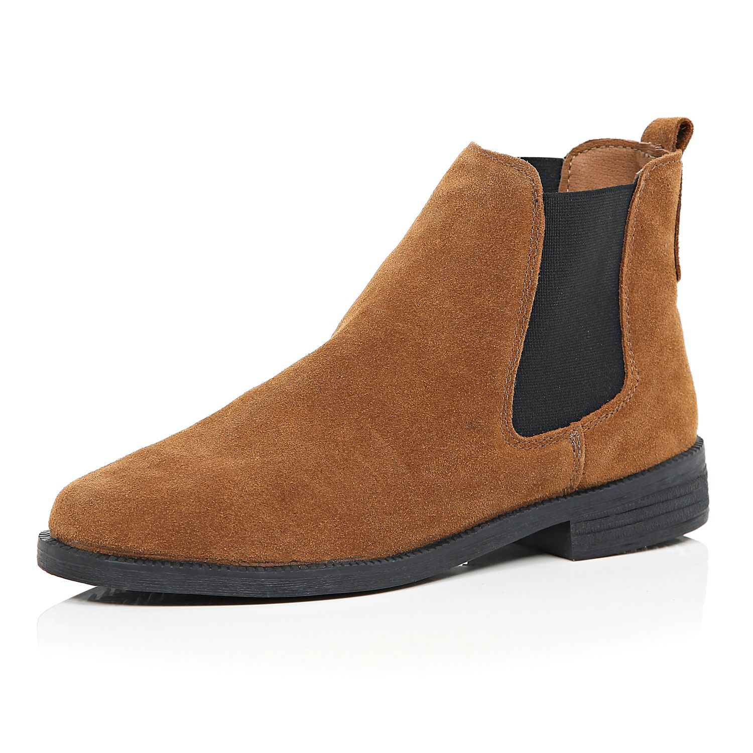 lyst river island tan brown suede chelsea boots in natural. Black Bedroom Furniture Sets. Home Design Ideas