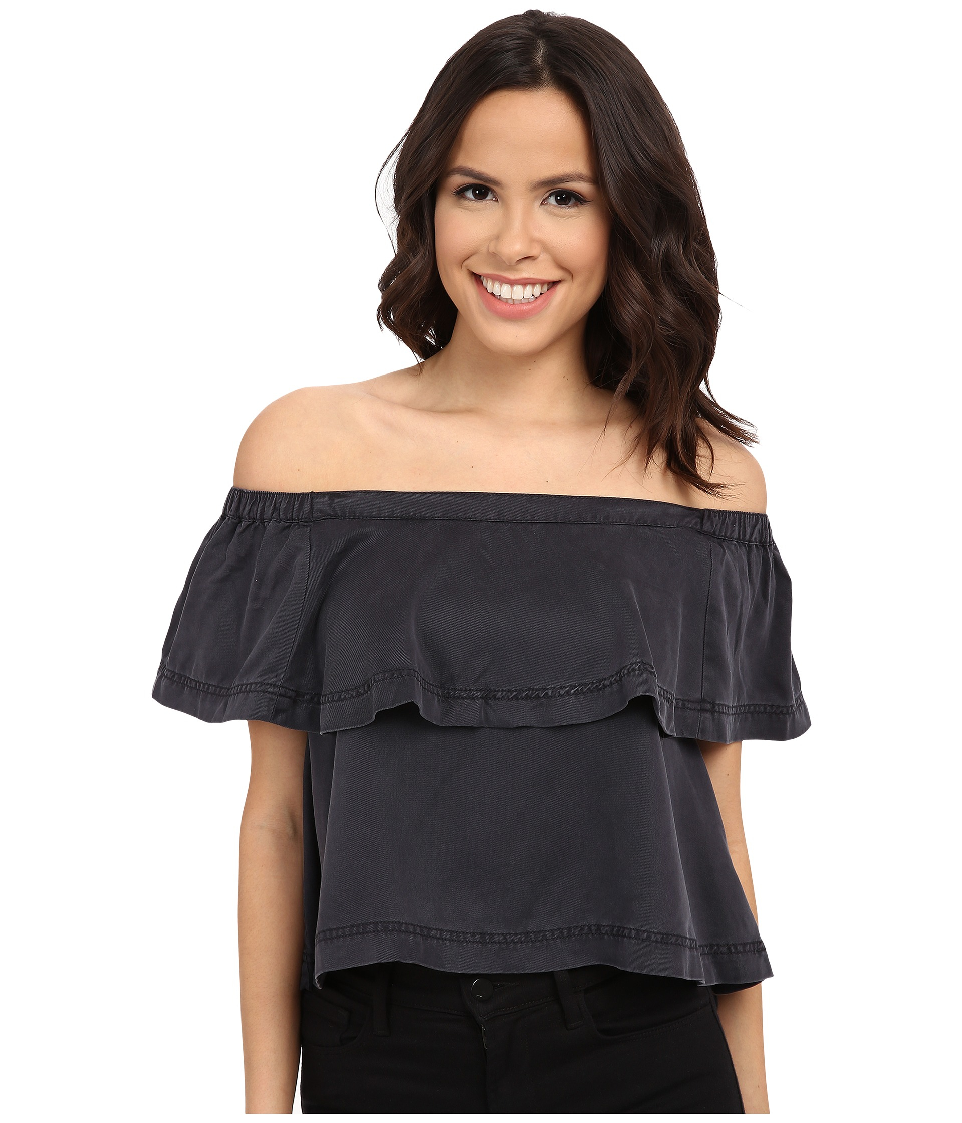 41db98ed0f7619 Lyst - Free People Cold Shoulder Crop Top in Black