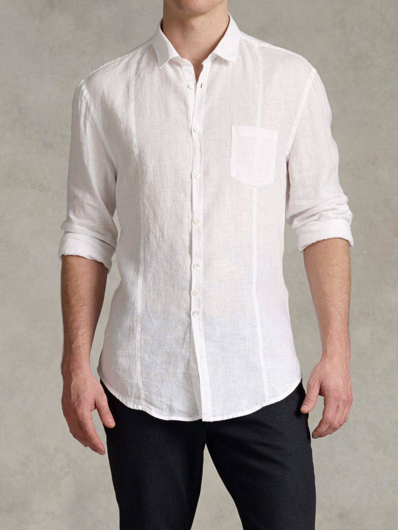 John Varvatos Slim Fit Linen Button up Shirt In White For