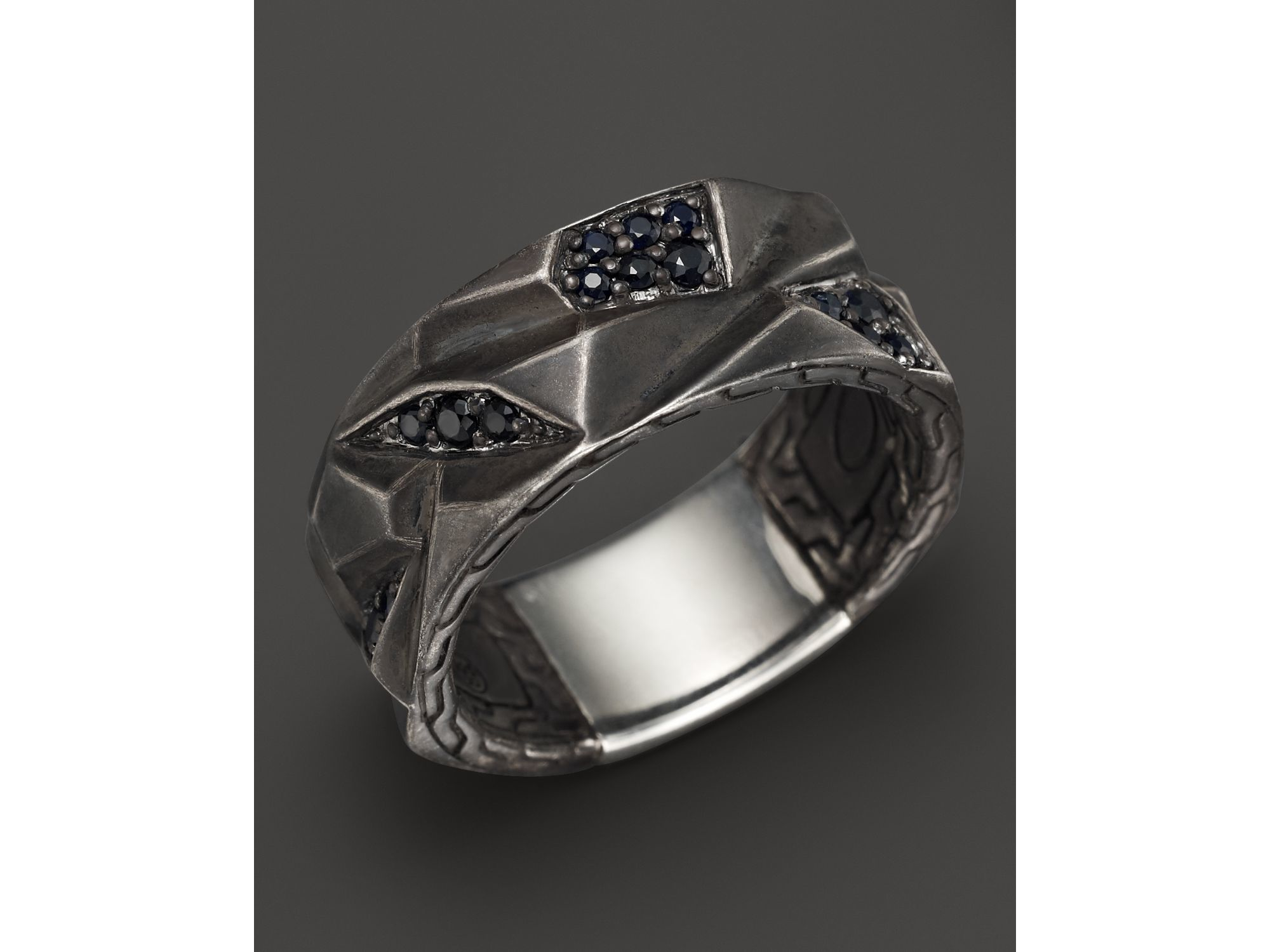 John Hardy Classic Chain Silver Signet Ring with Black Volcanic 1d1H38