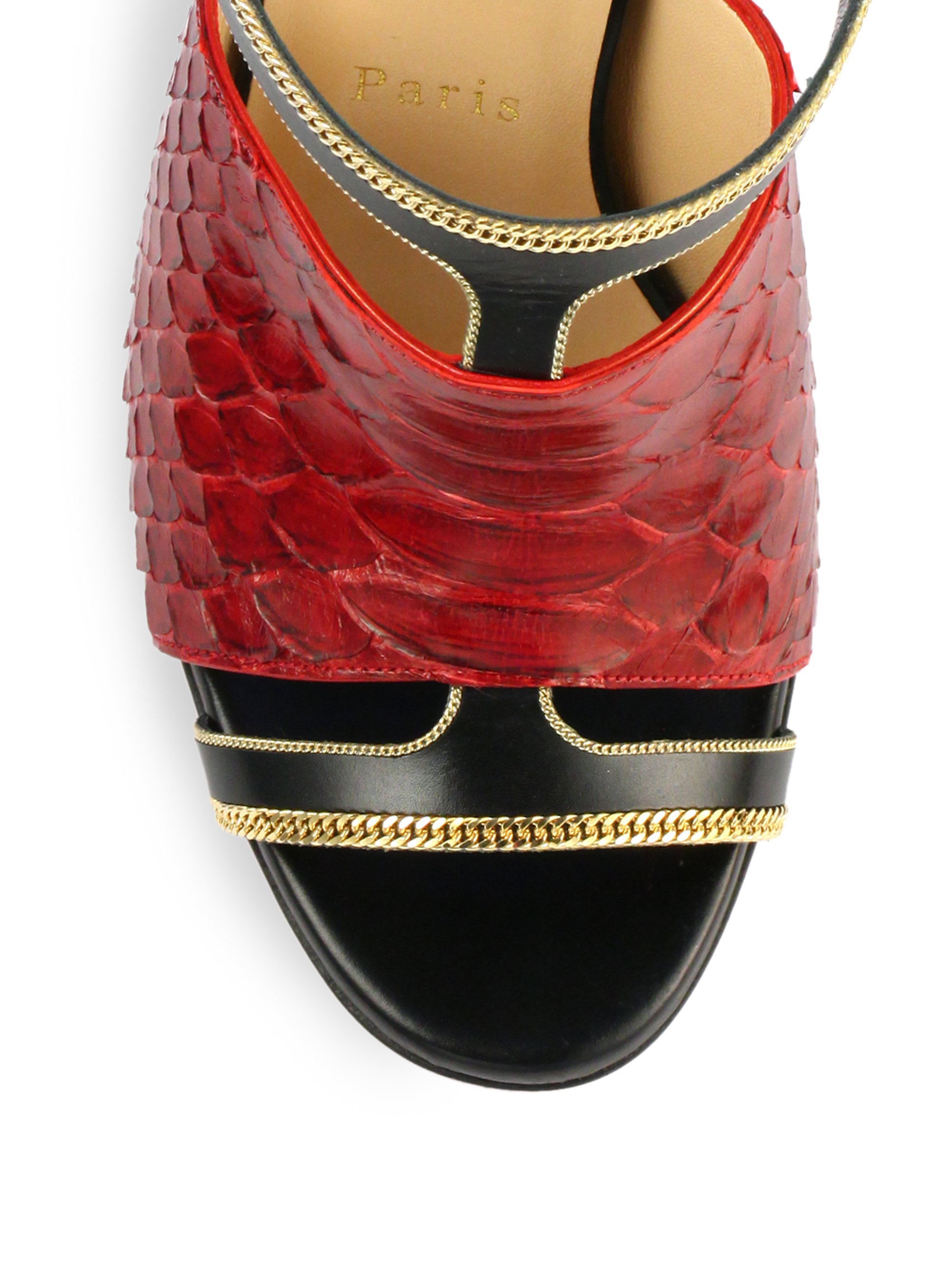 best christian louboutin replica sites - Christian louboutin Akenana Python \u0026amp; Leather Mule Sandals in Red ...