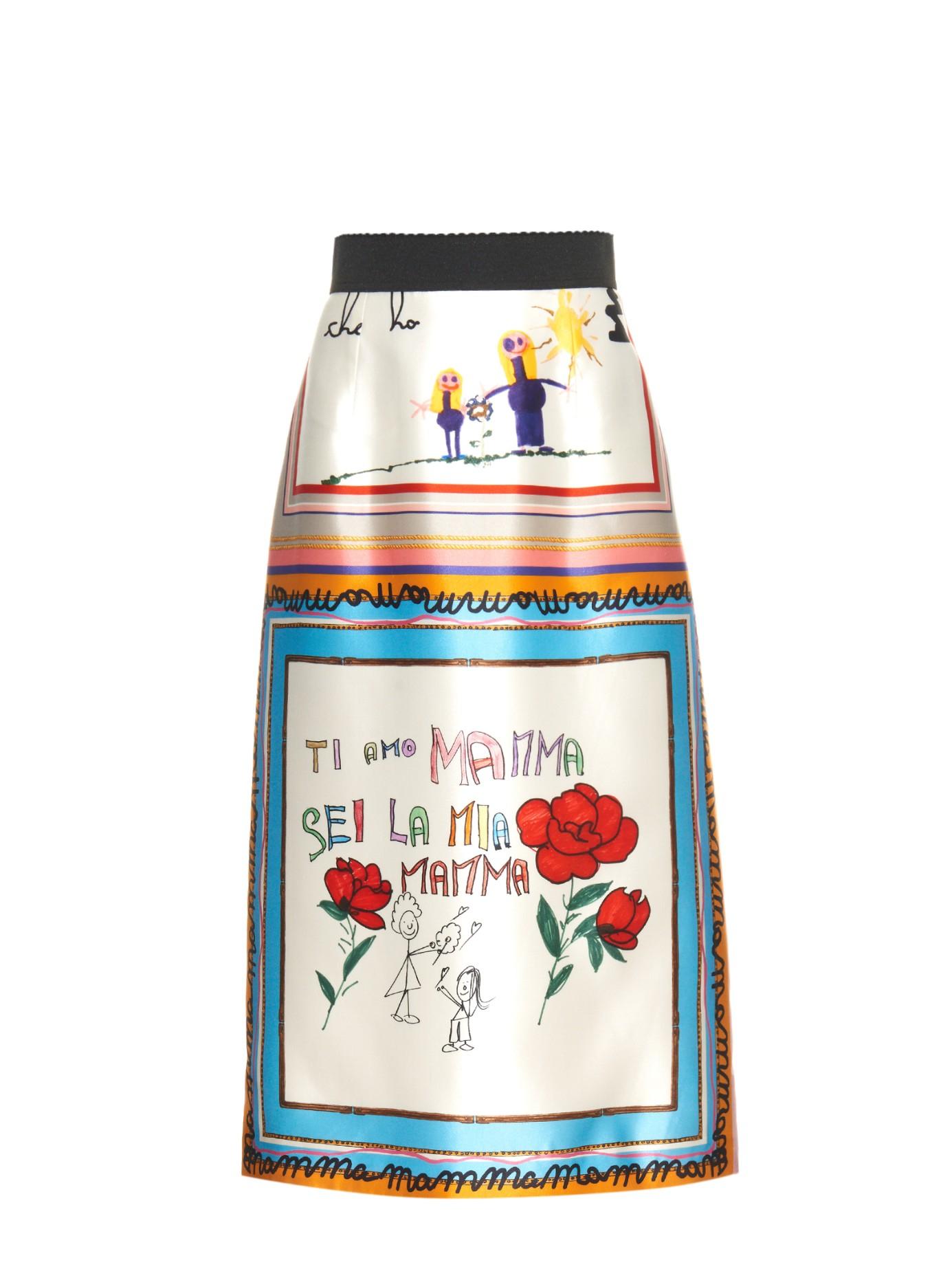 72d33c07 Dolce & Gabbana Drawing-print Silk Full Skirt in Pink - Lyst