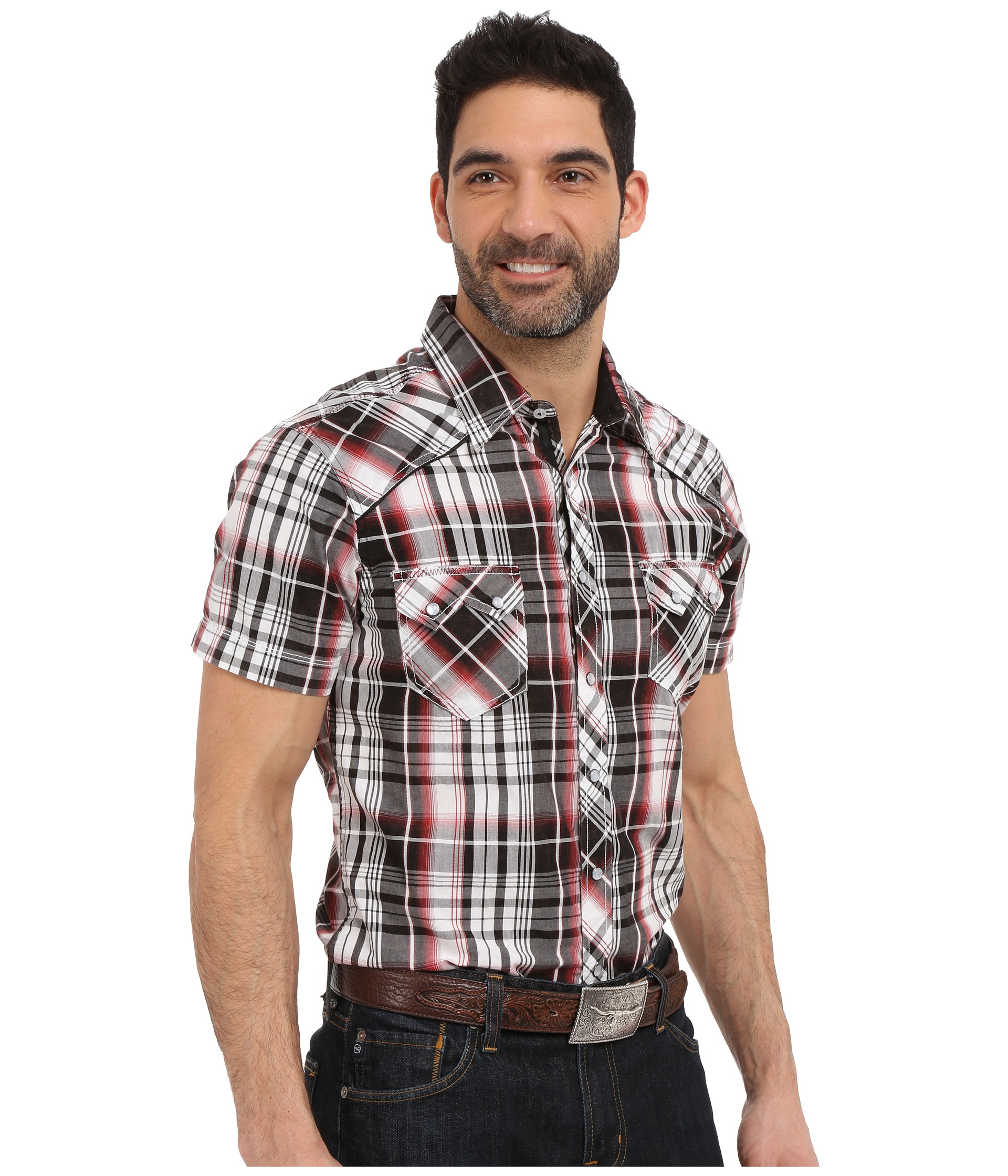 Rock And Roll Cowboy Short Sleeve Snap B1s6280 In Brown
