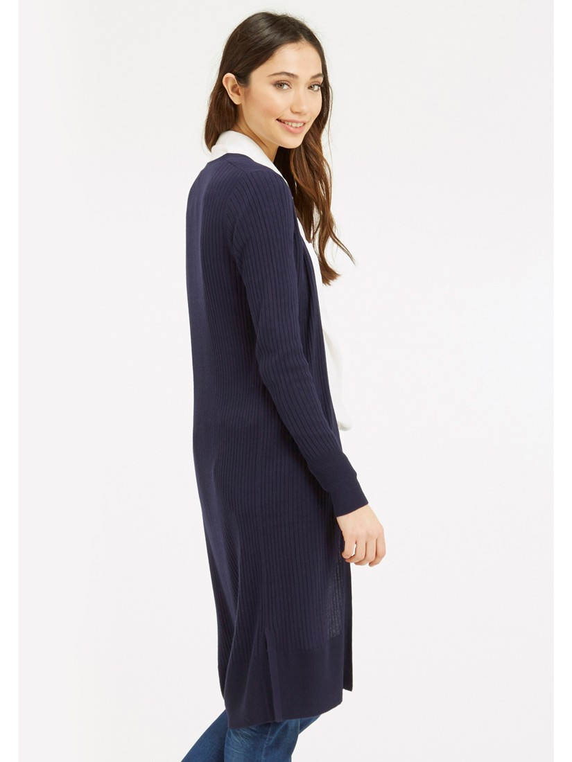 Oasis All-over Rib Longline Edge To Edge Cardigan in Blue | Lyst