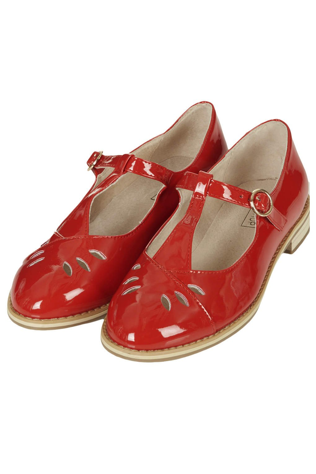 TOPSHOP Gwenny Tbar Geek Shoes in Red