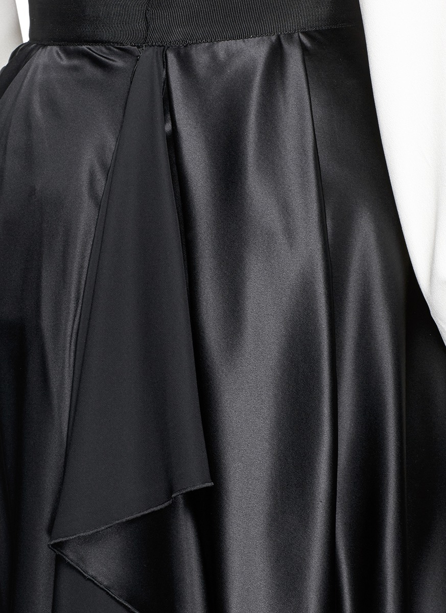Ellery 'ussr' Silk Charmeuse Drape Midi Skirt in Black | Lyst