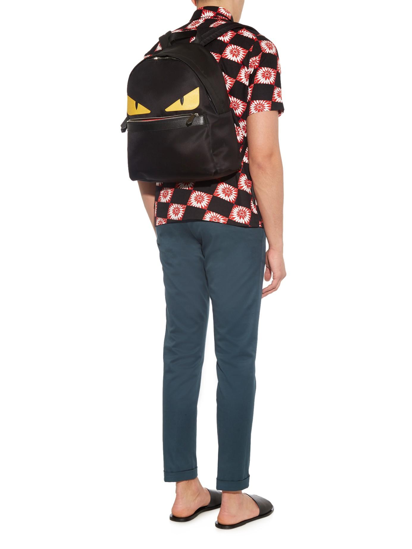 2b1e0152 Fendi Black Bag Bugs Nylon And Leather Backpack for men