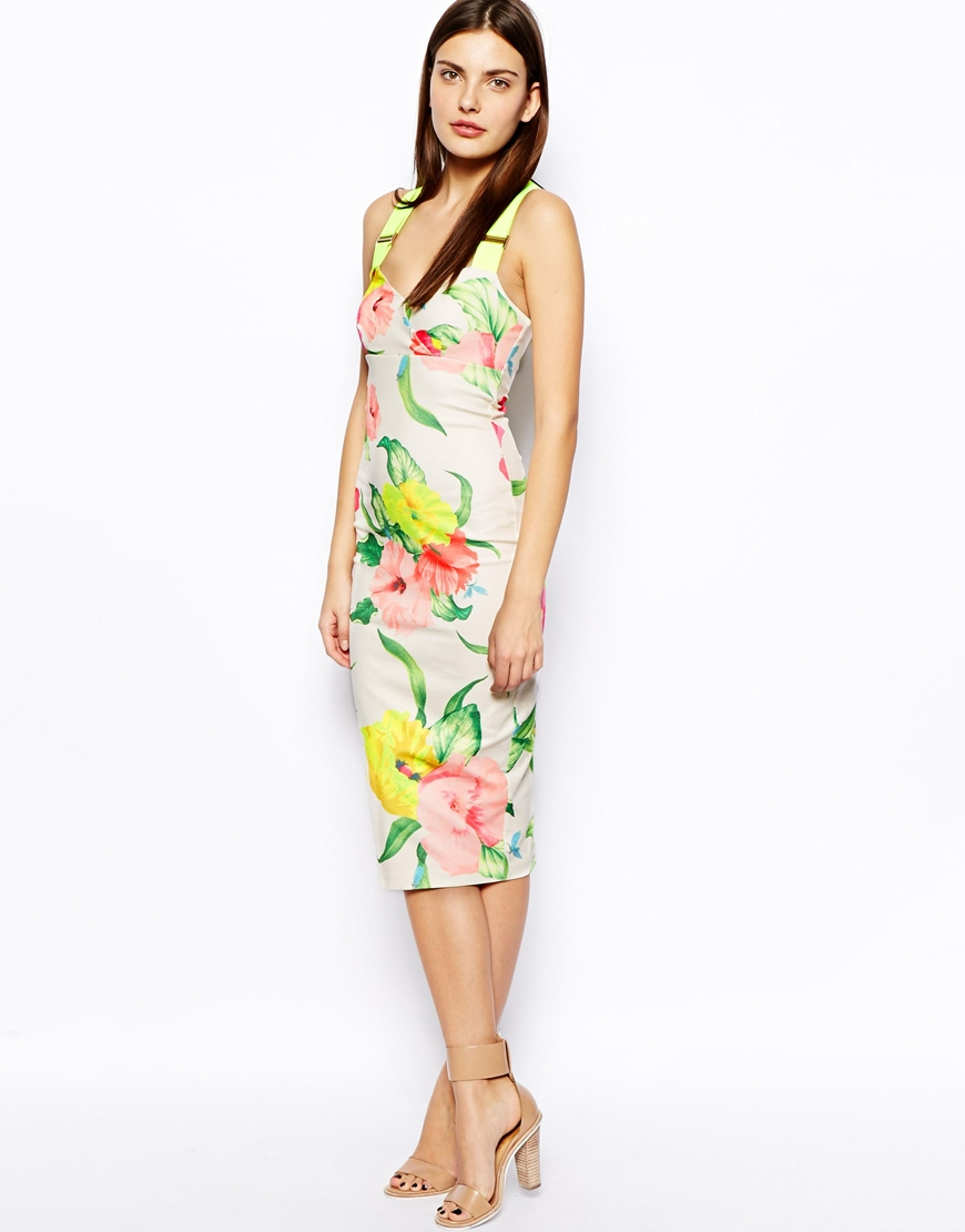 b8a03527ef Lyst - Ted Baker Taylar Midi Dress in Floral Print with Fluro Straps