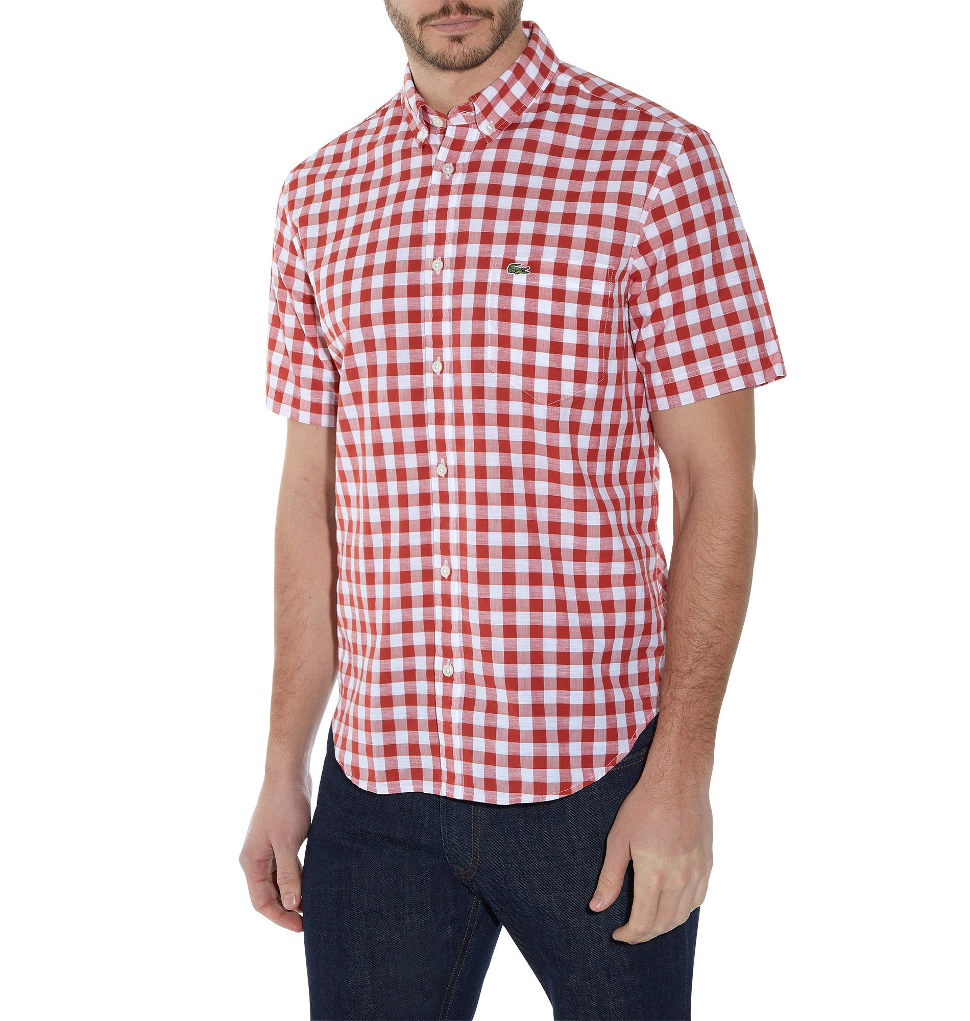 Lacoste gingham short sleeve button down shirt in orange for Button down shirts for short men