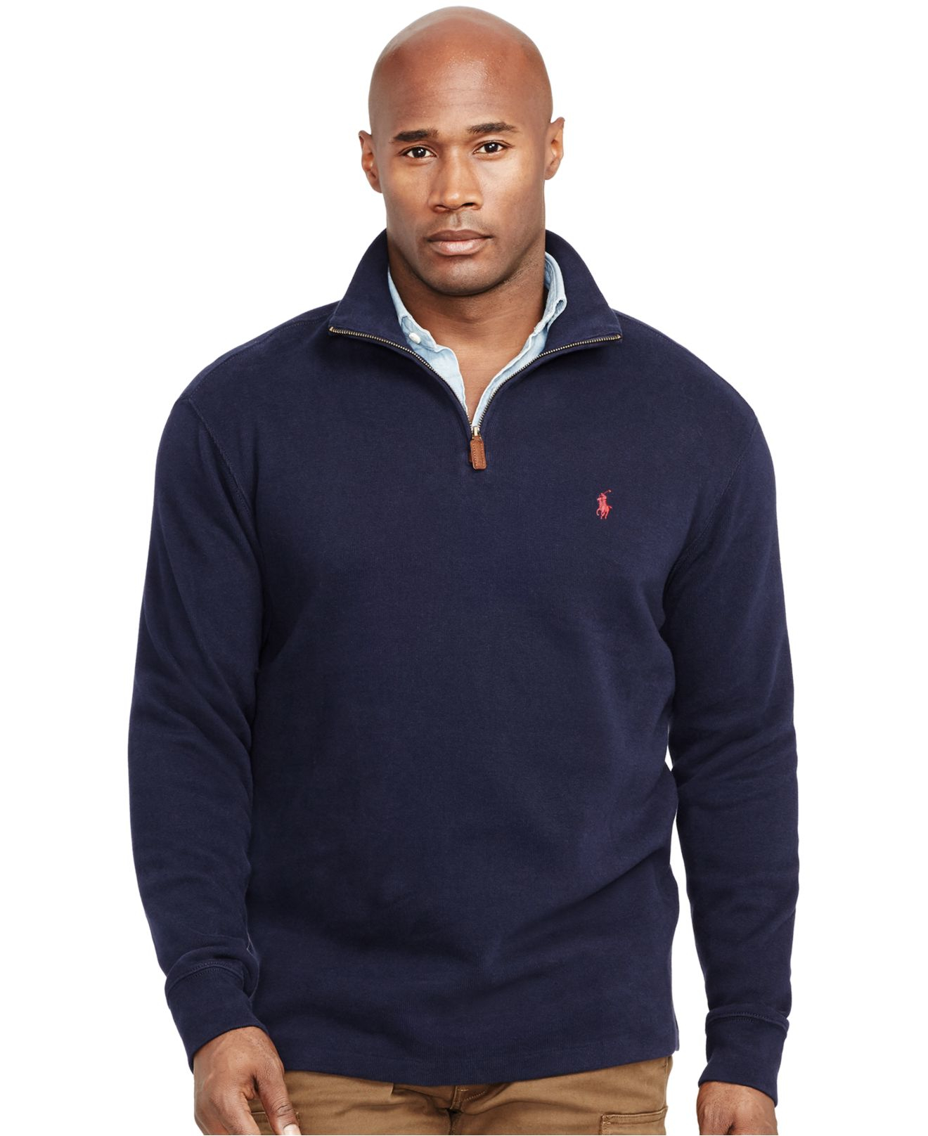 lyst polo ralph lauren big and tall french rib half zip. Black Bedroom Furniture Sets. Home Design Ideas