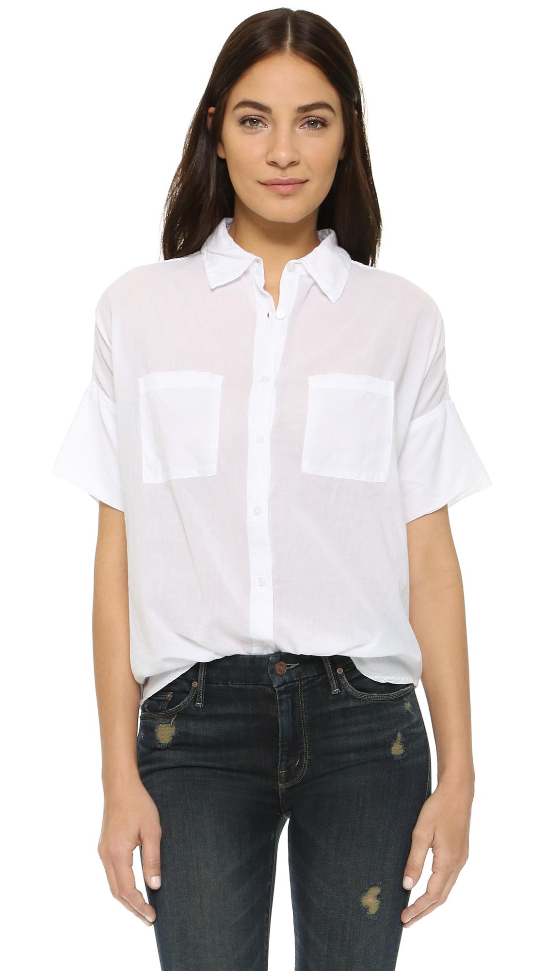 220e61face44fe Sundry Short Sleeve Blouse in White - Lyst