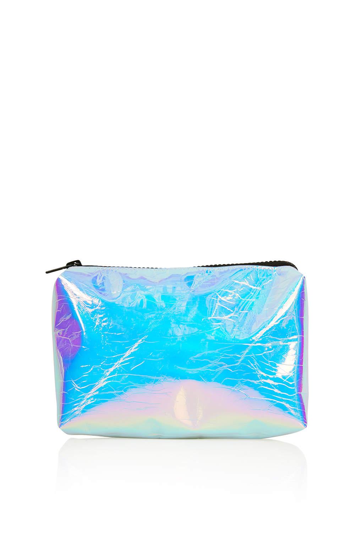 Lyst Topshop Iridescent Make Up Bag In Blue