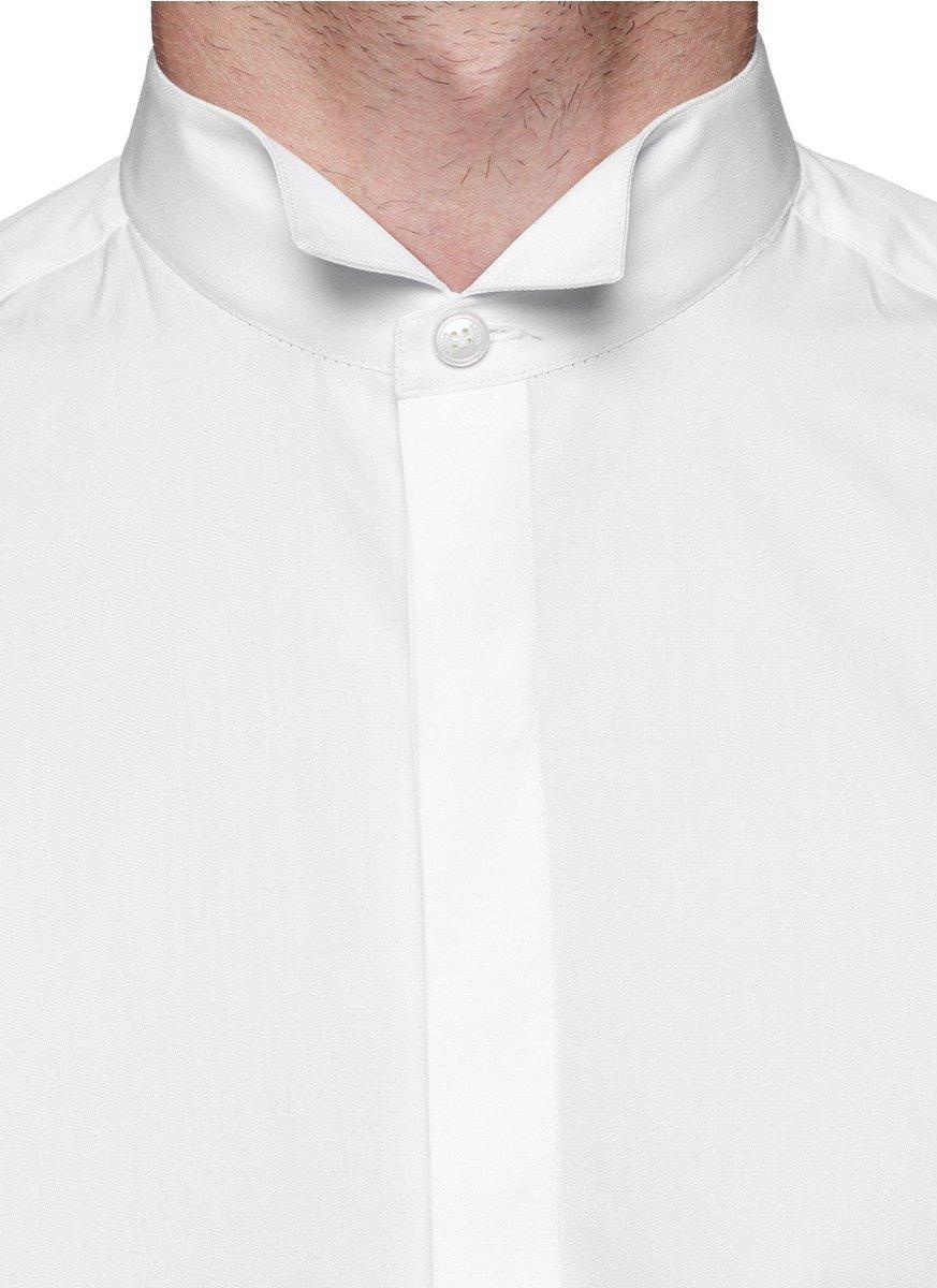 Lyst lanvin wing tip collar poplin tuxedo shirt in white for Tuxedo shirt wing tip