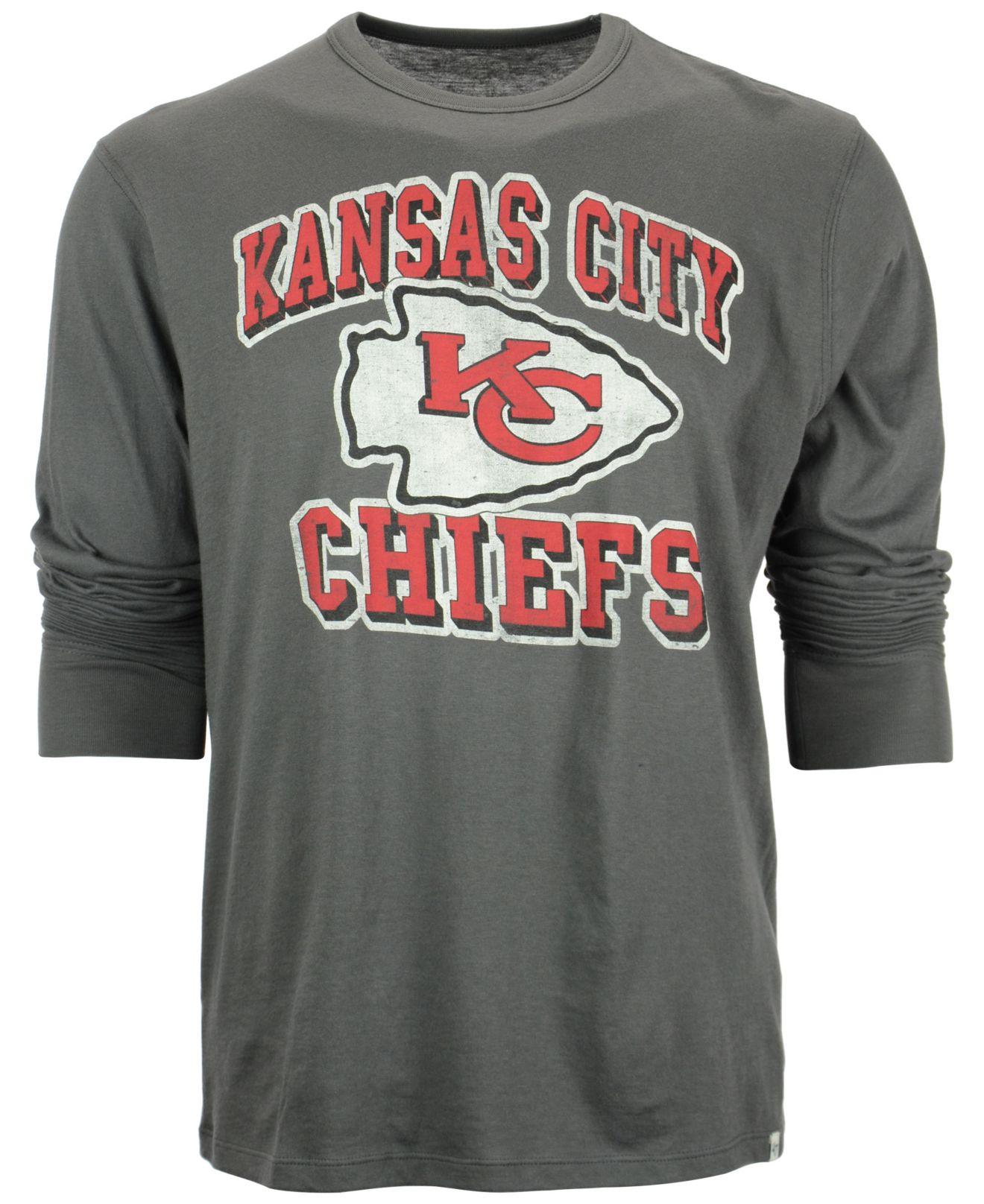 47 brand men 39 s long sleeve kansas city chiefs flanker t for Kansas city chiefs tee shirts