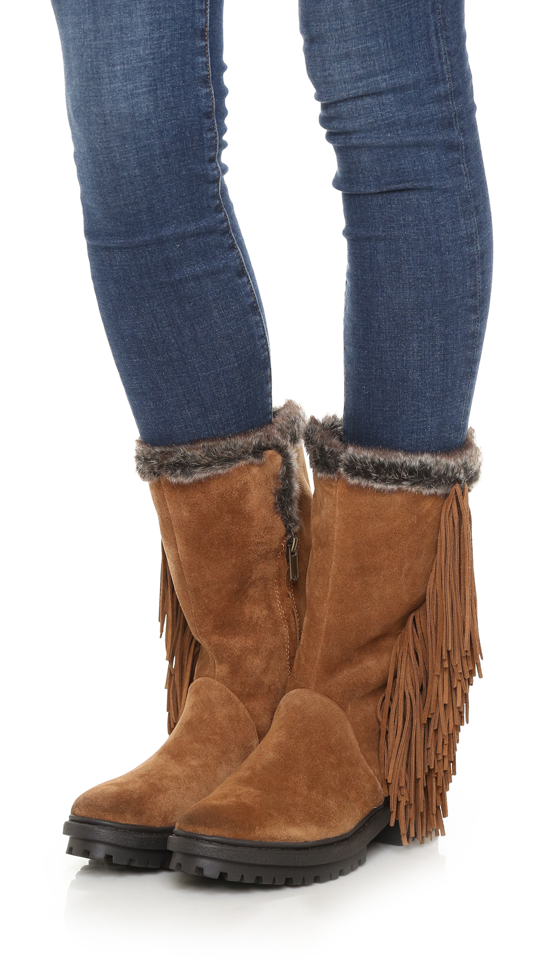 93e6dad3deba49 Lyst - Sam Edelman Tilden Faux Fur Lined Fringe Boots - Black in Brown