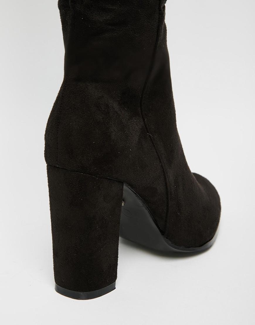 9bae3523499 Lyst - Daisy Street Black Block Heel Over The Knee Boots in Black