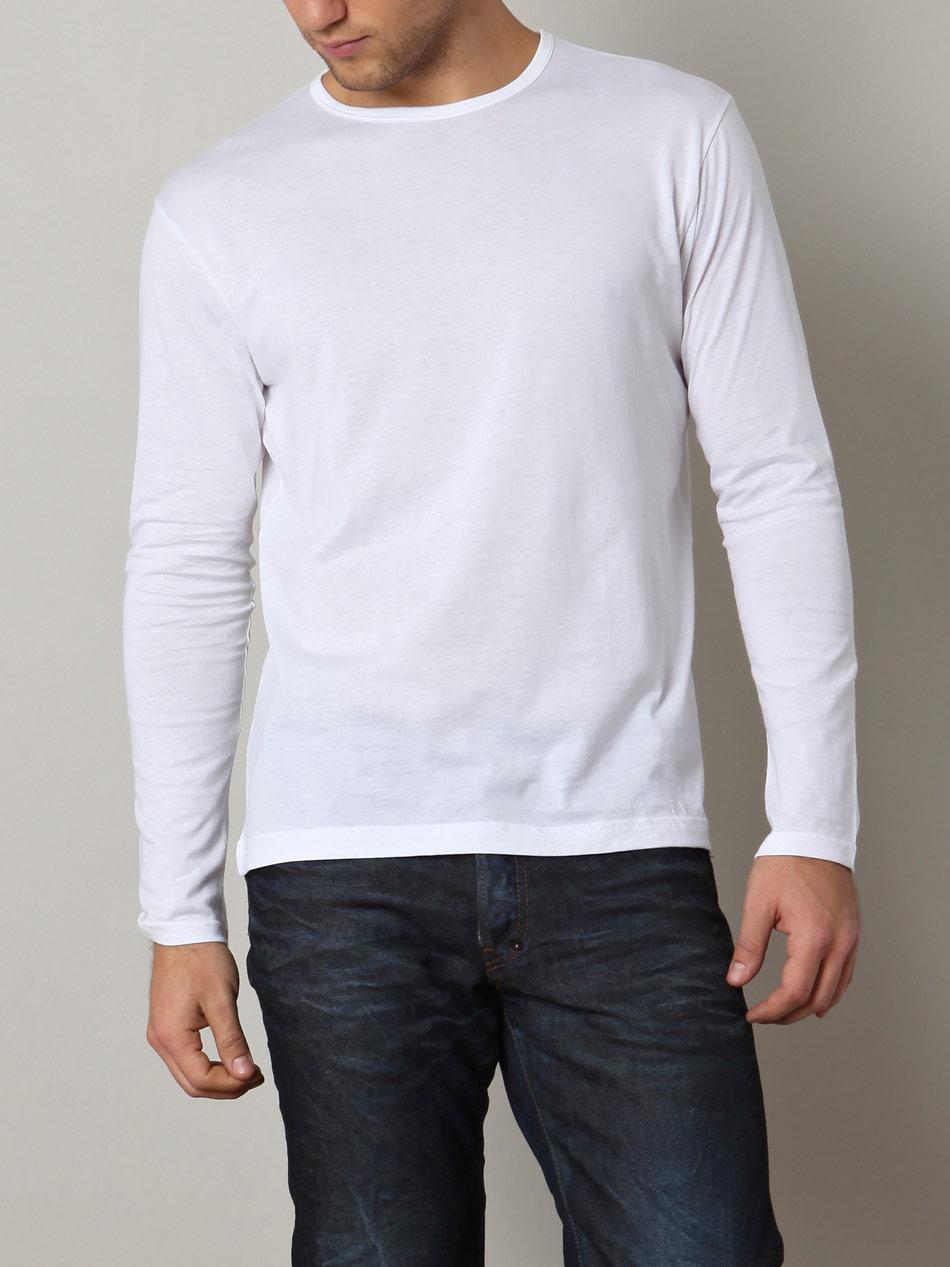 sunspel long sleeve crew neck t shirt in white for men lyst