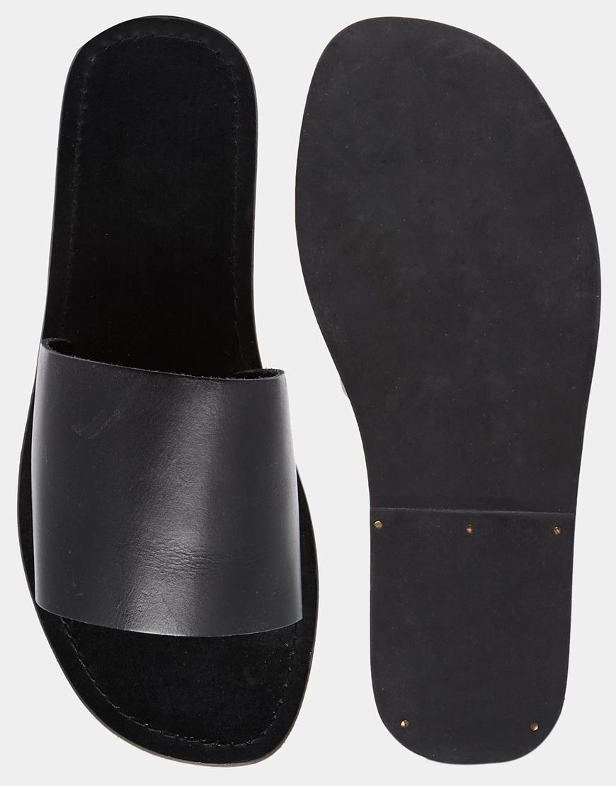 ASOS Slide Sandals In Leather in Black