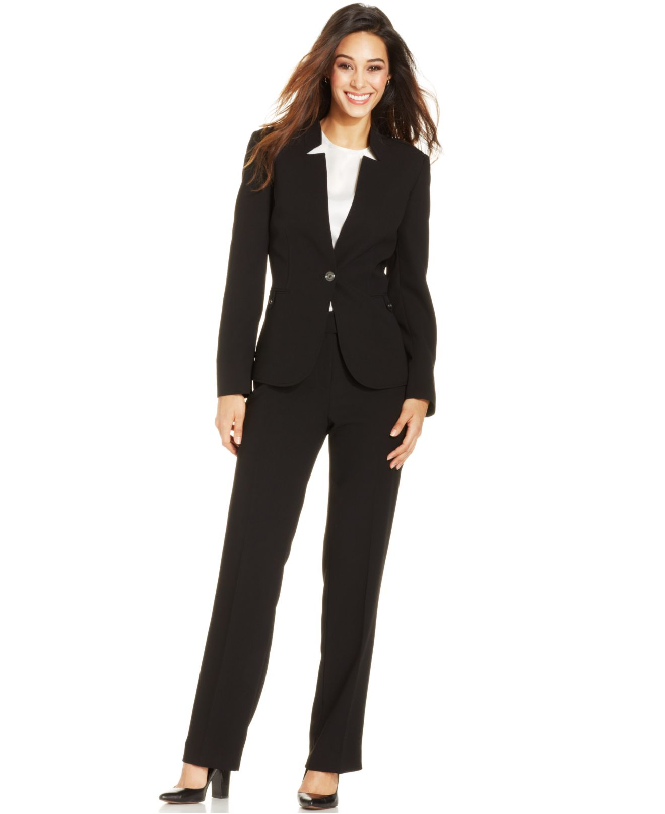 Lyst Tahari Petite Notched Stand Collar Pantsuit In Black