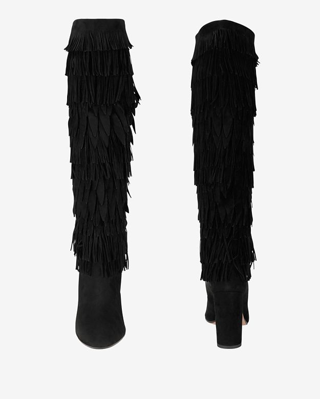 Aquazzura Fringe Knee High Stack Heel Suede Boot: Black in Black ...
