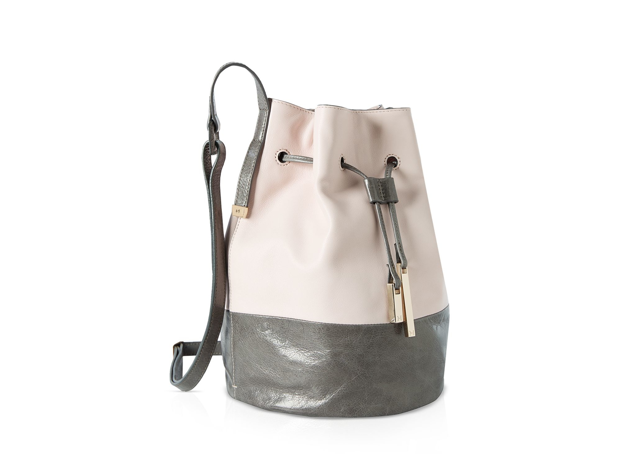 7bfad8a703 Lyst - Halston City Casual Smooth Leather Colorblock Bucket Bag in Pink