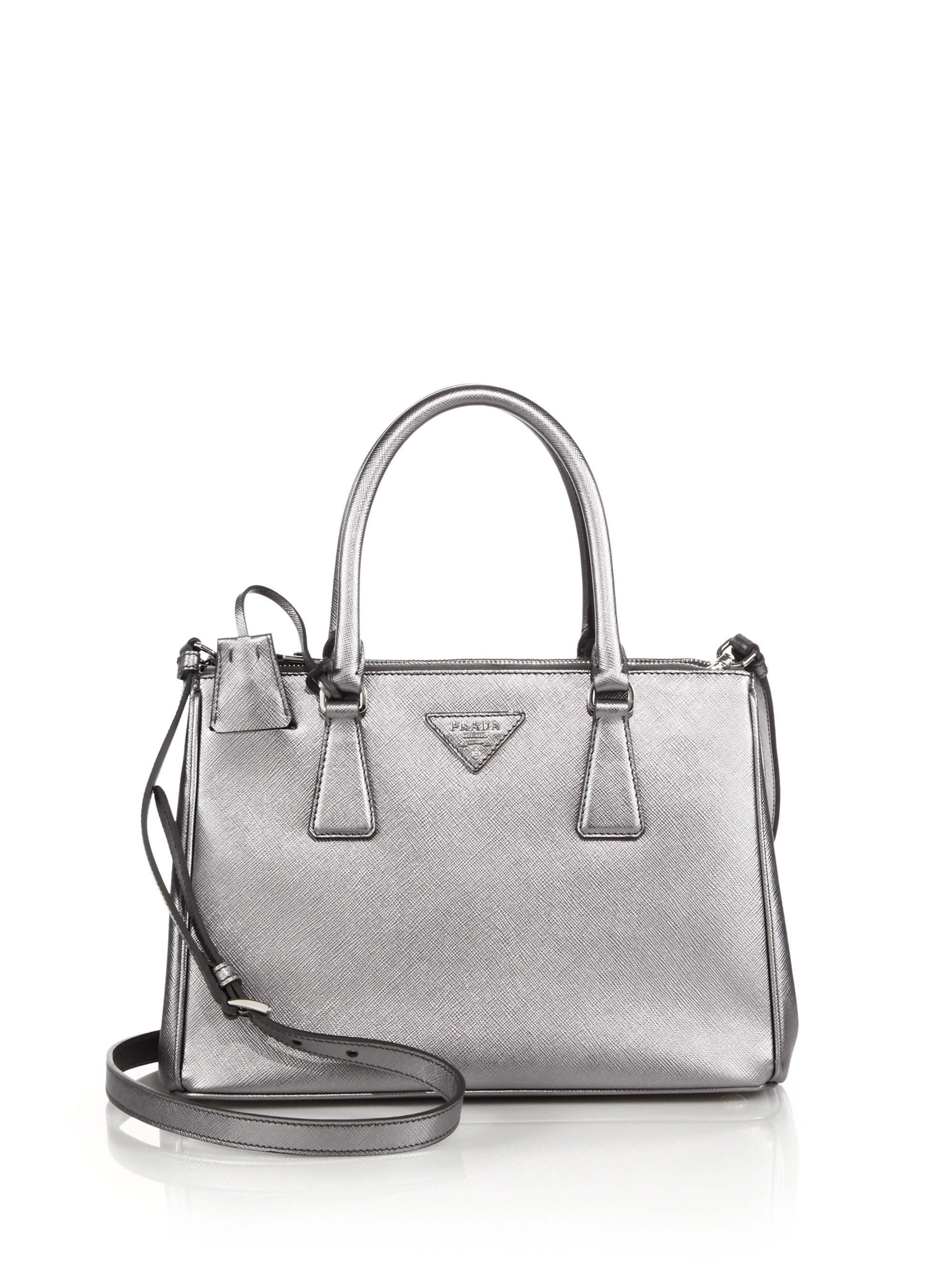 43e906672629e7 ... new style lyst prada saffiano lux small metallic double zip tote in  metallic f0ddd c0573