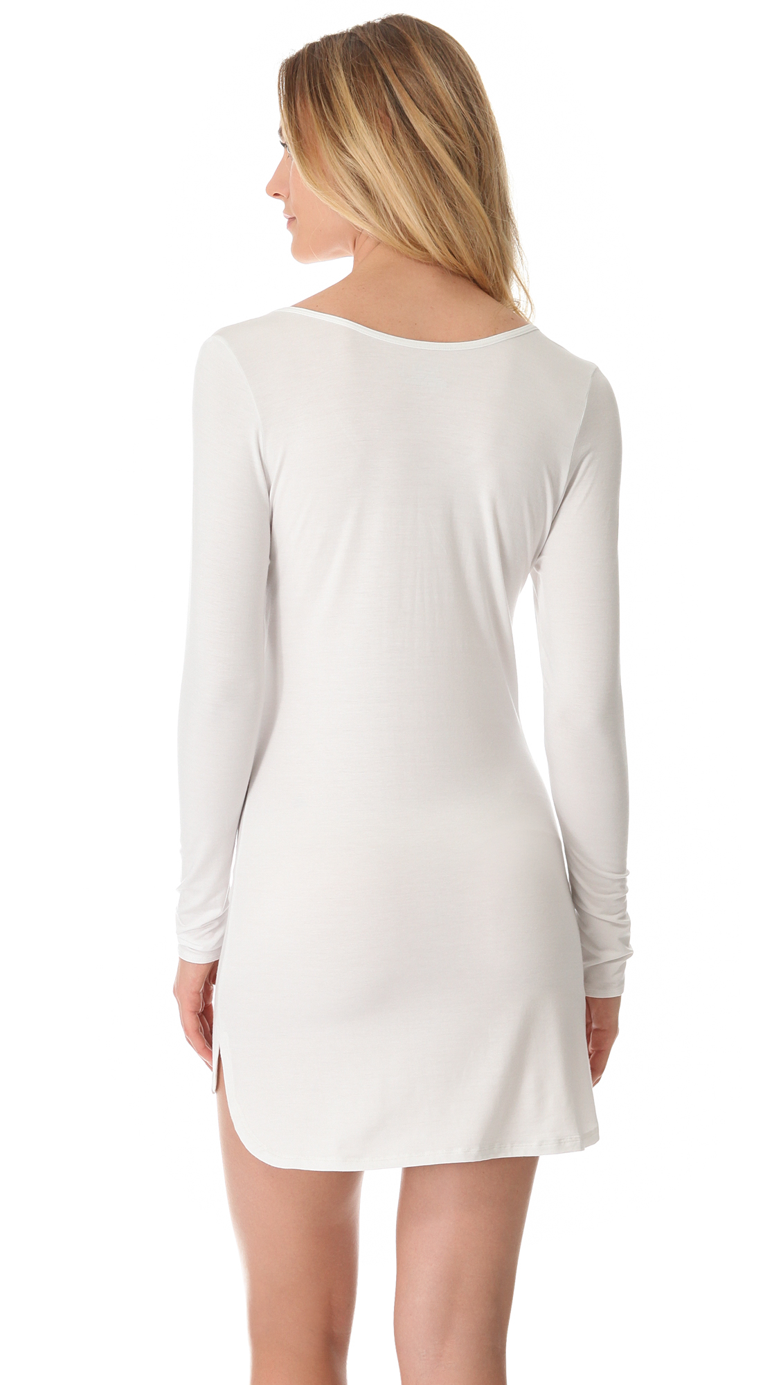 Splendid Essential Long Sleeve Nightgown In White Lyst