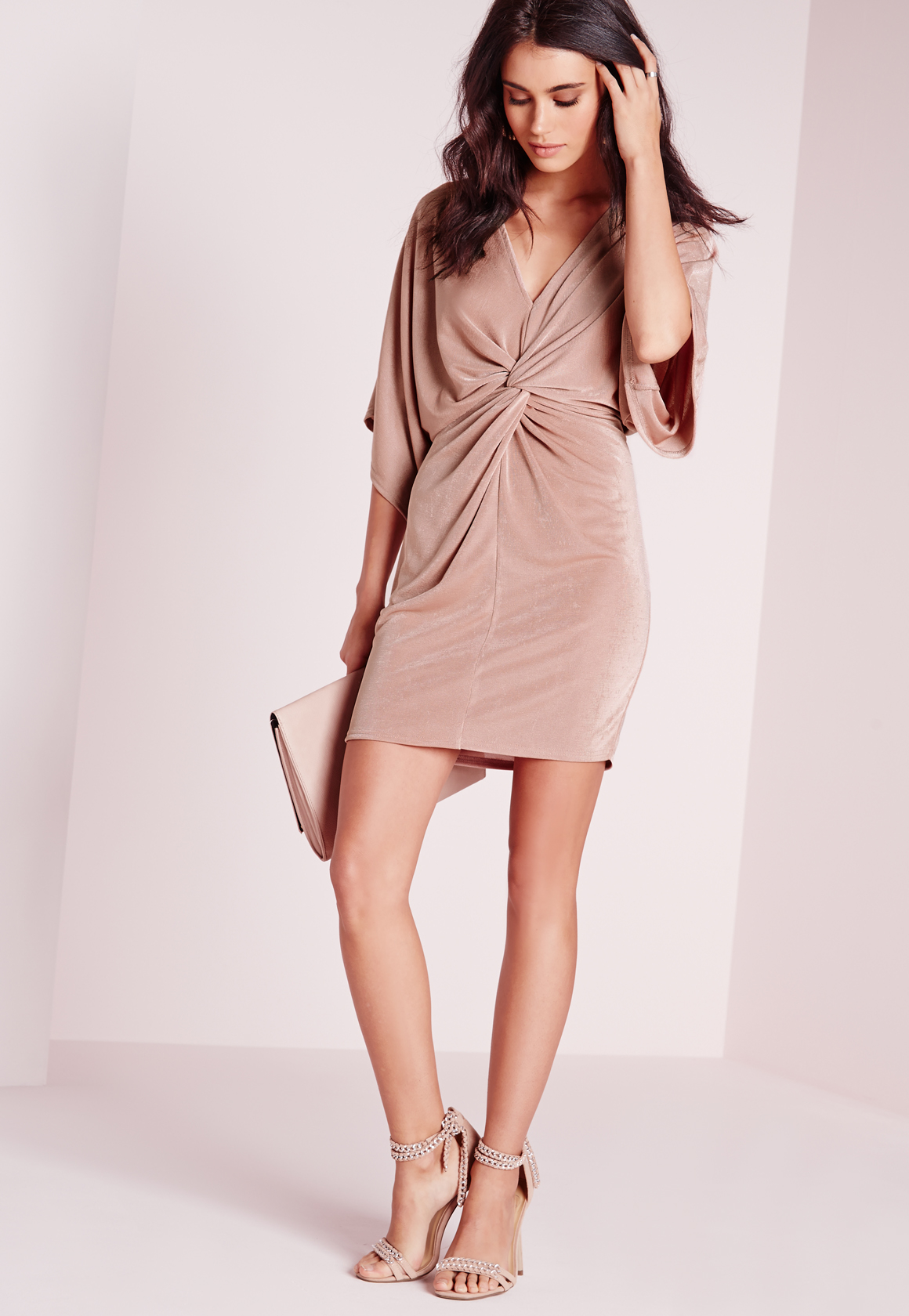 Missguided Slinky Kimono Mini Dress Rose Lyst