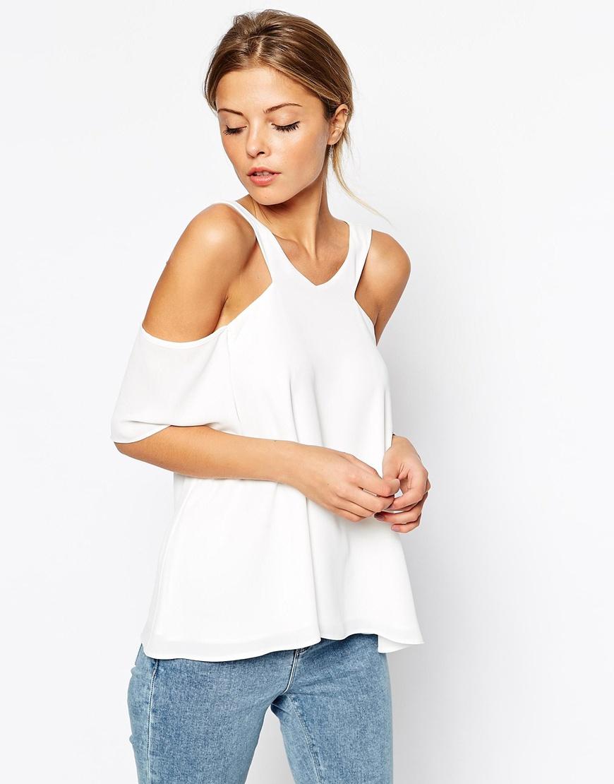 Women's White V Front Cold Shoulder Top