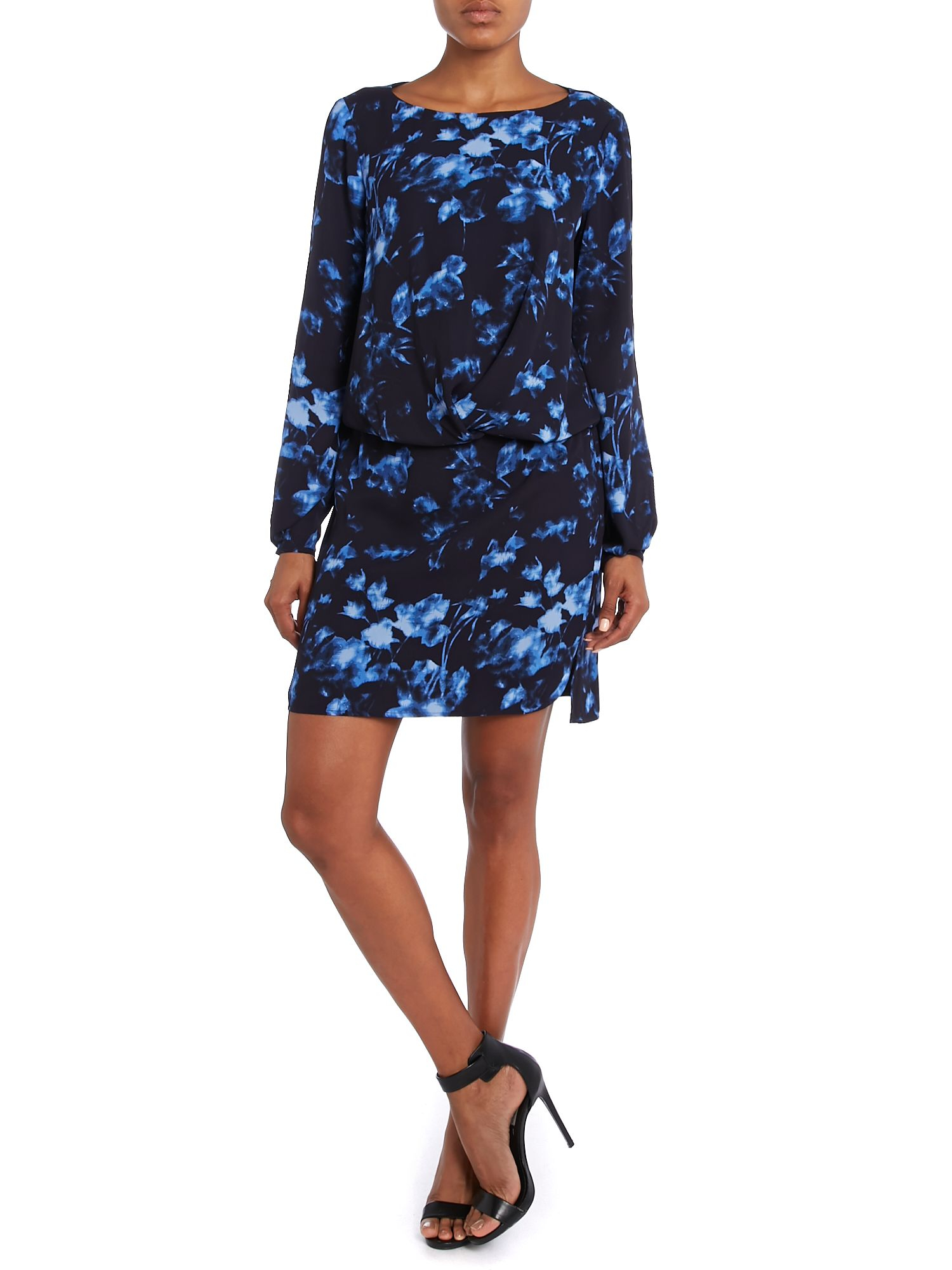 Vince Camuto Synthetic Floral Dress In Blue Lyst