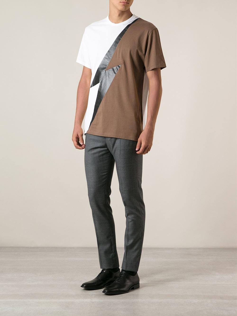 Lyst Neil Barrett Lightning Bolt Tshirt In Brown For Men