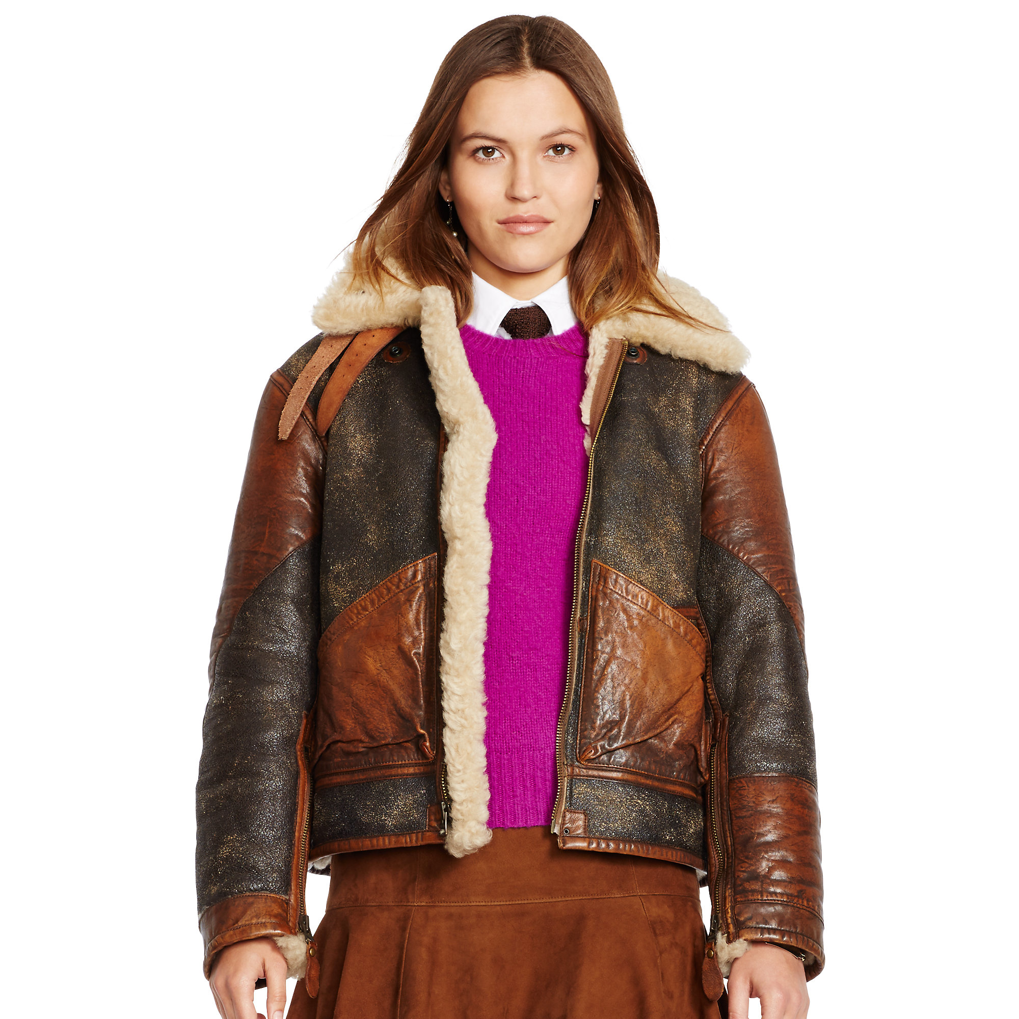 polo ralph lauren shearling bomber jacket in brown lyst. Black Bedroom Furniture Sets. Home Design Ideas