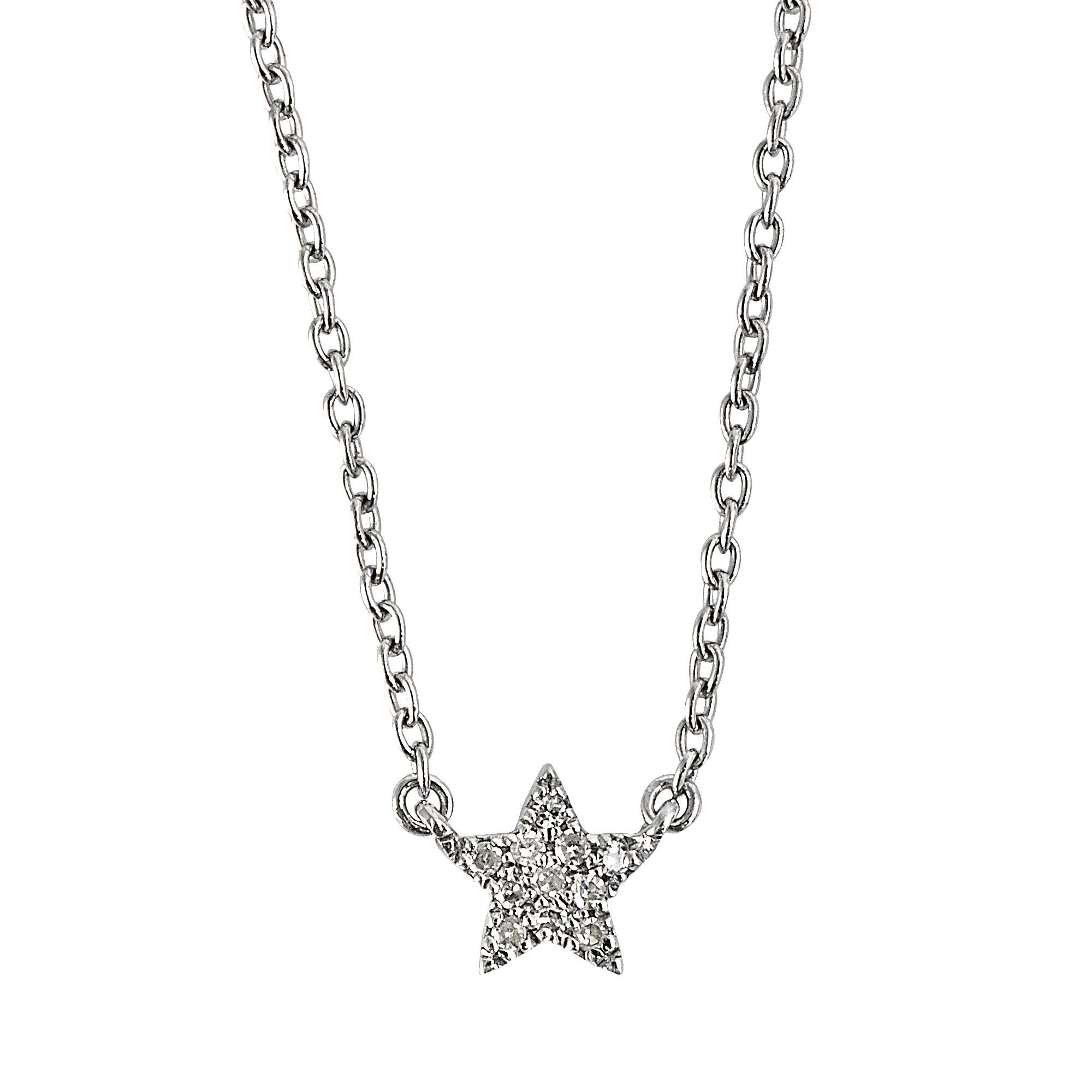 Lyst vanessa tugendhaft silver star and diamond necklace on small gallery mozeypictures Choice Image