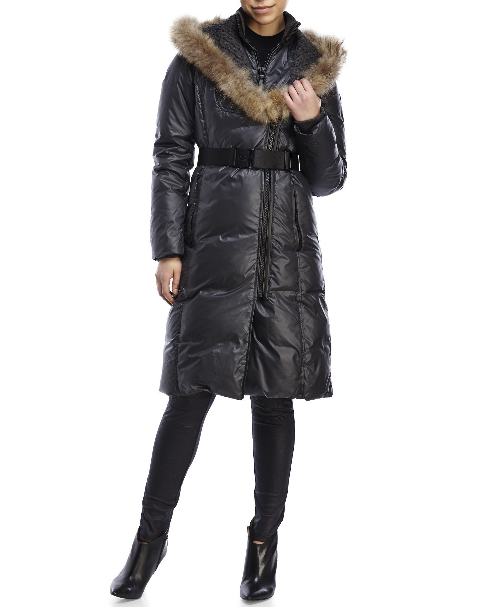 Rud styled by rudsak Jasmine Real Fur Trim Down Coat in Gray | Lyst