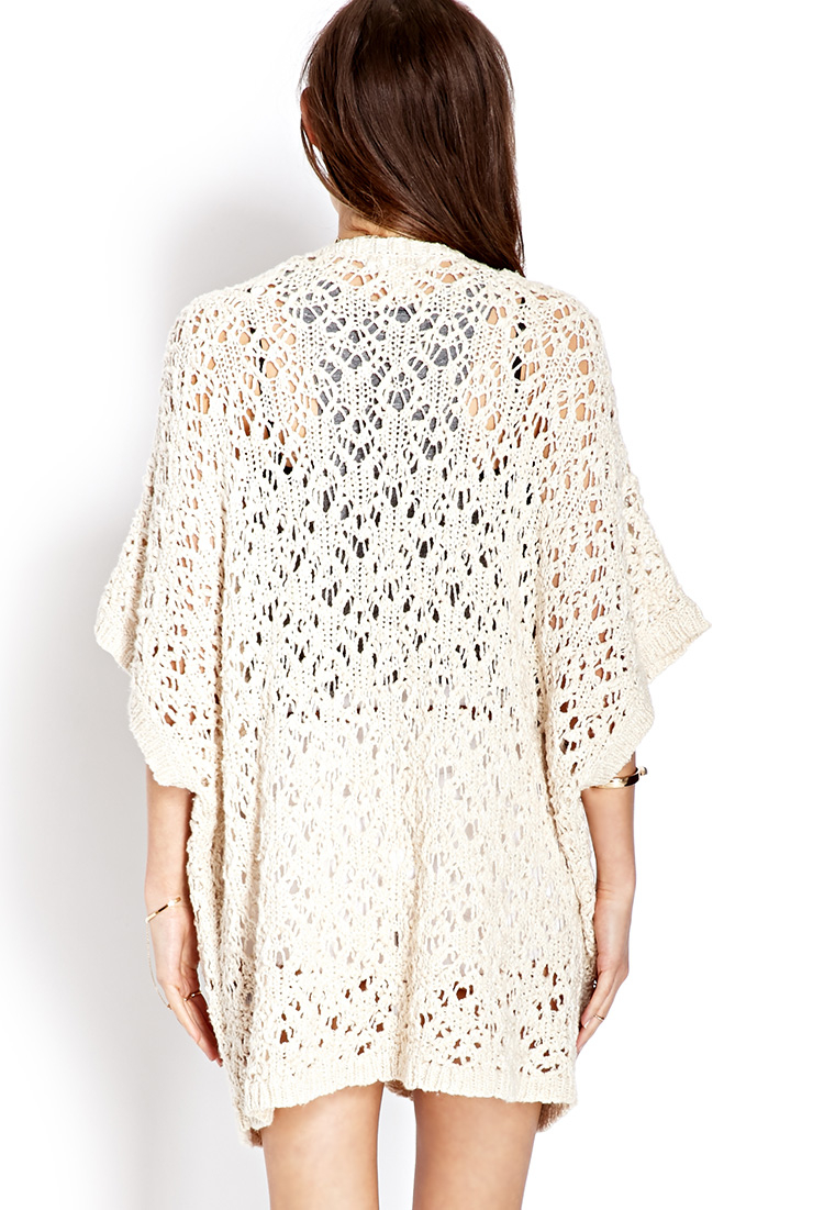 Open Everyday Acrylic Nails Gel Nails Eyelashe: Forever 21 Everyday Open-knit Cardigan In Natural