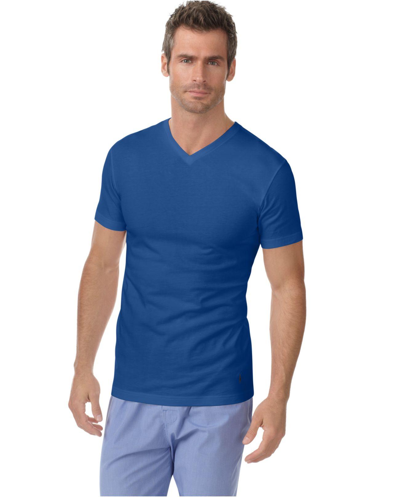polo ralph lauren men 39 s slim fit classic cotton v neck t shirt 3 pack in blue for men blue. Black Bedroom Furniture Sets. Home Design Ideas